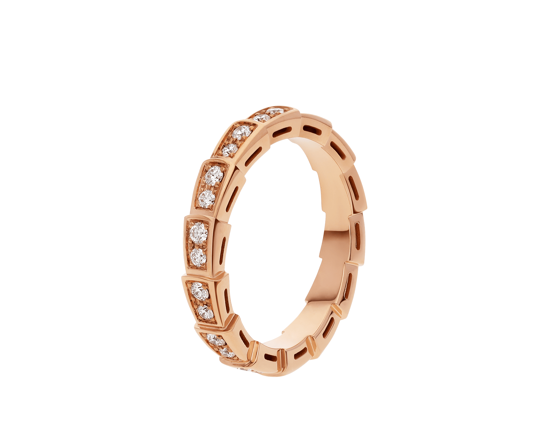 Serpenti Viper wedding band in 18 kt rose gold, set with full pavé diamonds. AN856980 image 1
