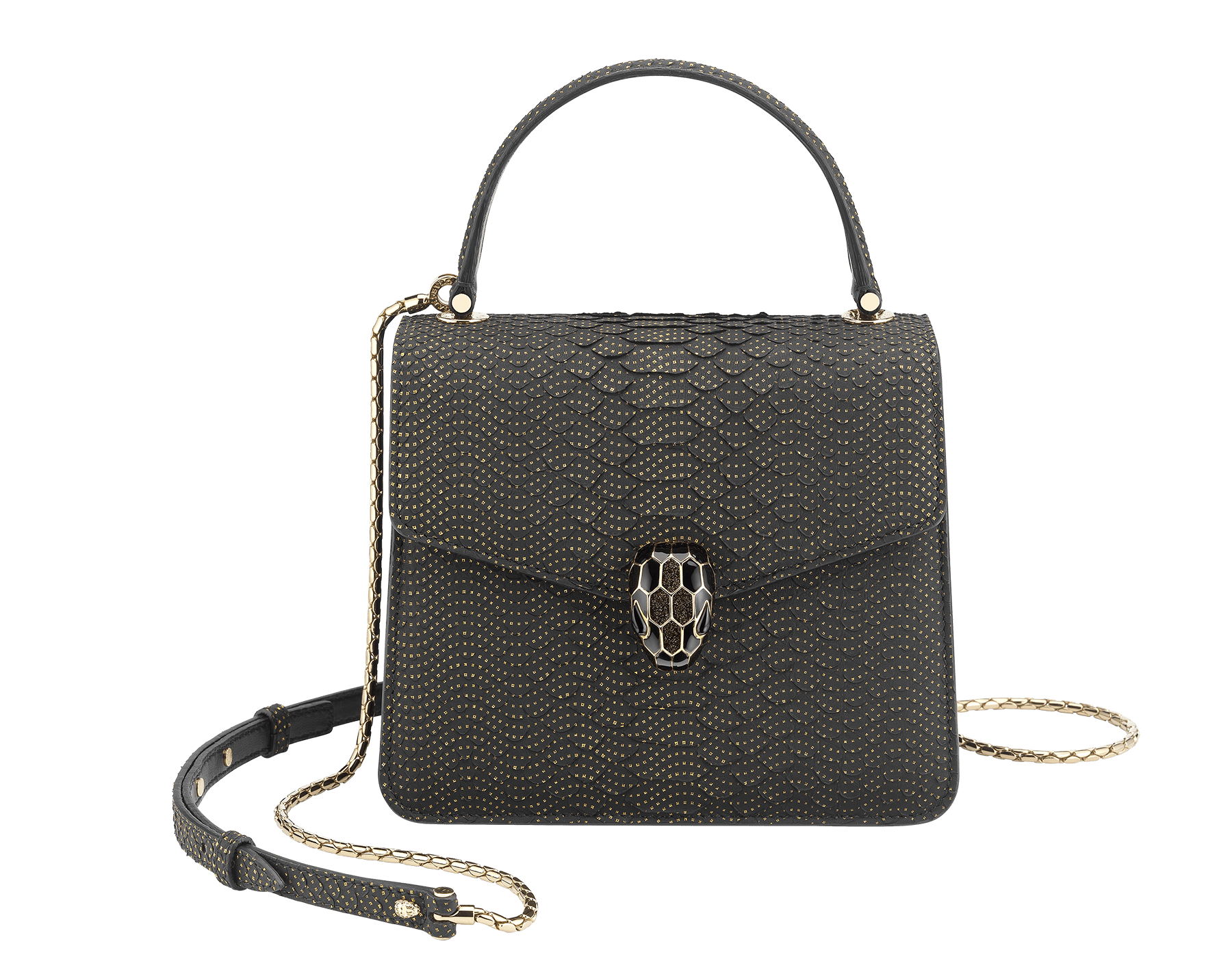 """Serpenti Forever"" crossbody bag in black Fil Coupé python skin. Iconic snakehead closure in light rose gold plated brass enriched with glitter bronze and shiny black enamel and black onyx eyes 287321 image 1"
