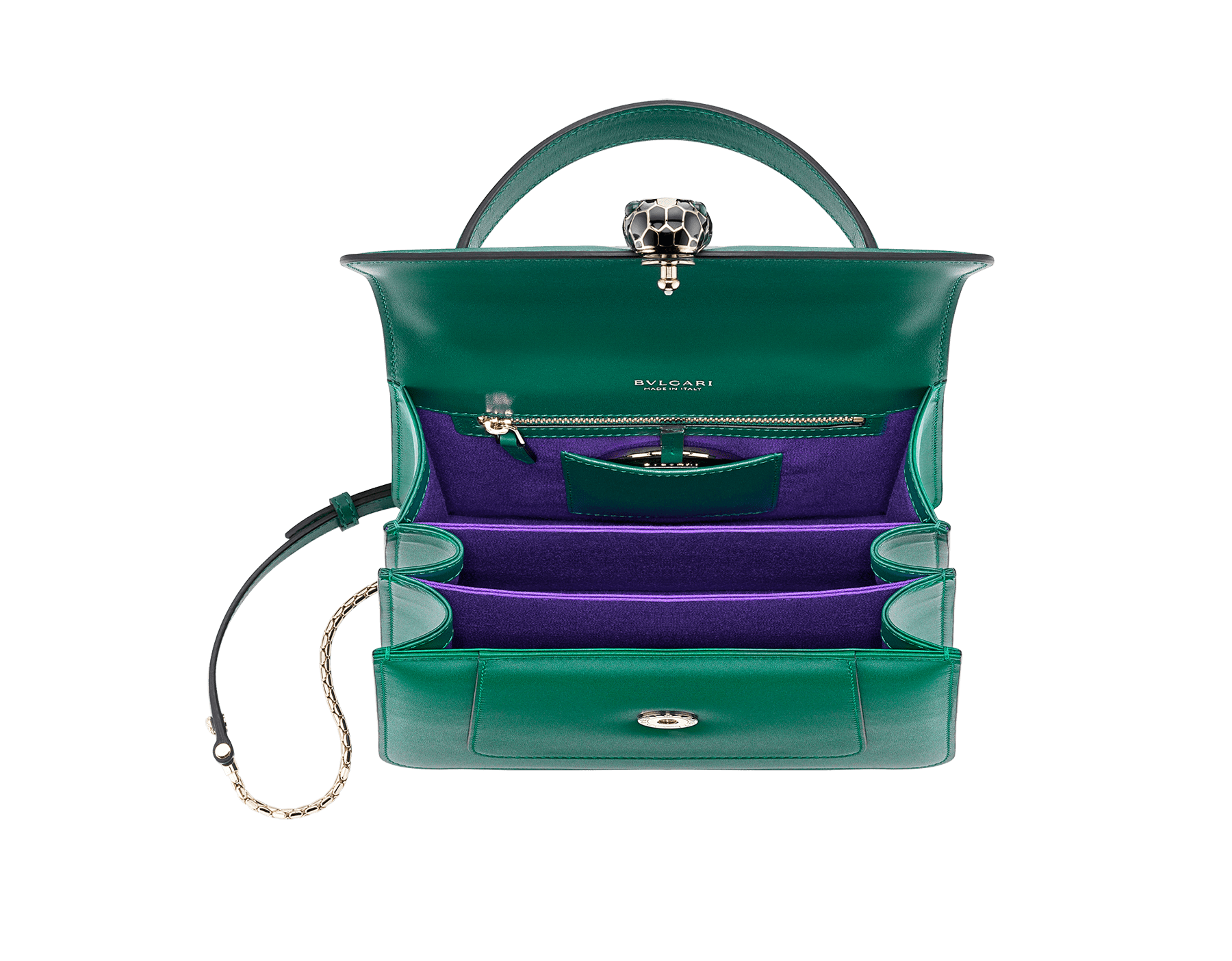 """Serpenti Forever"" top handle bag in daisy topaz calf leather. Iconic snake head closure in light gold plated brass enriched with black and white enamel and green malachite eyes. 1050-CL image 3"