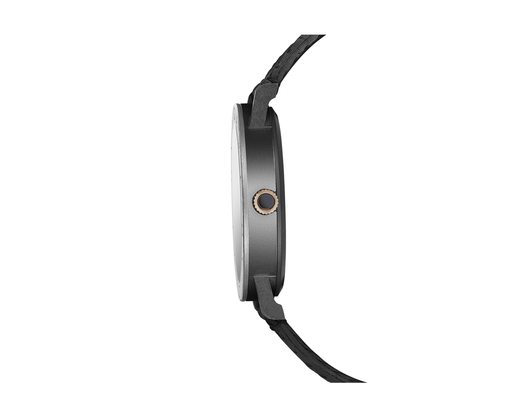 BVLGARI BVLGARI Solotempo watch with mechanical manufacture movement, automatic winding and date, stainless steel case treated with black Diamond Like Carbon and bezel engraved with double logo, black dial, black rubber bracelet and interchangeable brown calf leather bracelet 102929 image 2