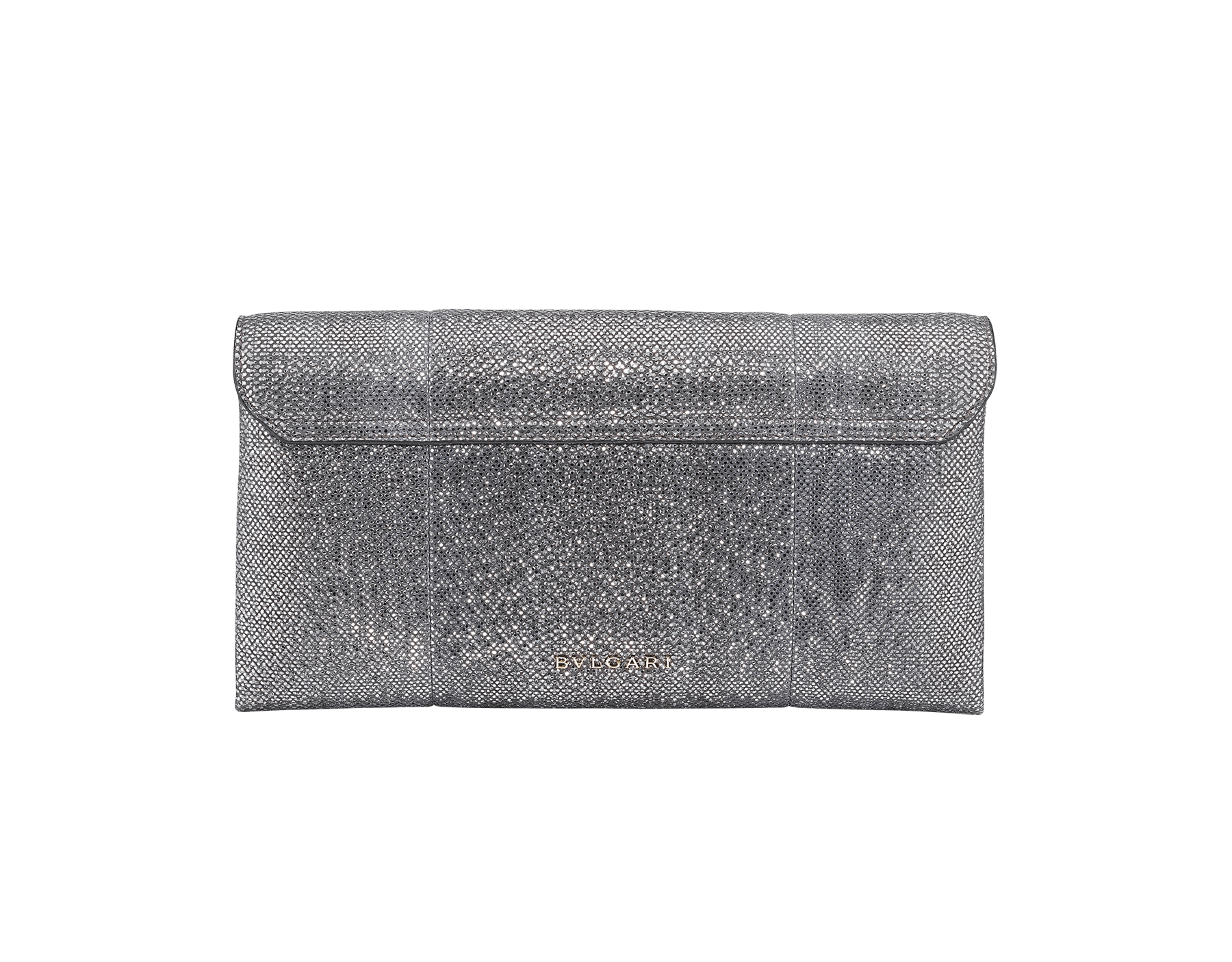 Serpenti evening clutch in charcoal diamond metallic karung skin. Snakehead stud closure with tassel in light gold plated brass decorated with black and glitter charcoal diamond enamel, and black onyx eyes. 288165 image 3