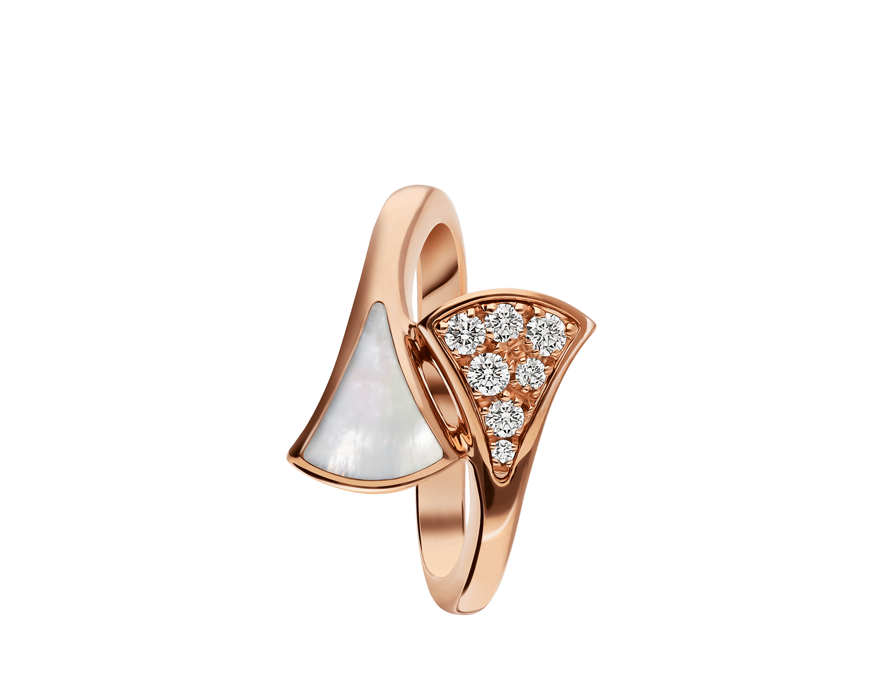 DIVAS' DREAM small contraire ring in 18 kt rose gold, set with mother-of-pearl and pavé diamonds (0.10 ct). AN858003 image 2