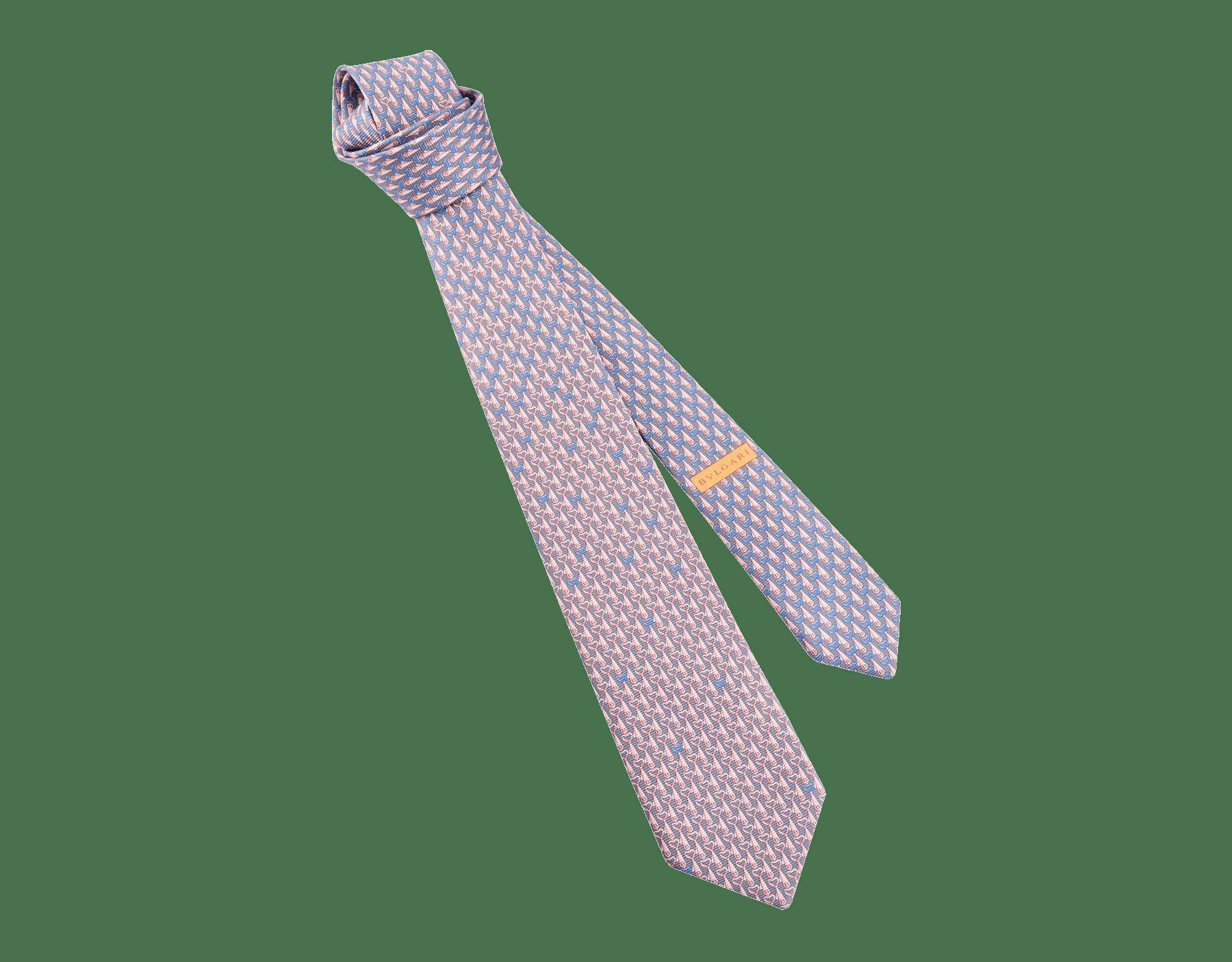 Cravate sept plis Daddy's Party21 en serge de soie fine imprimée violette. DADDYSPARTY21 image 1