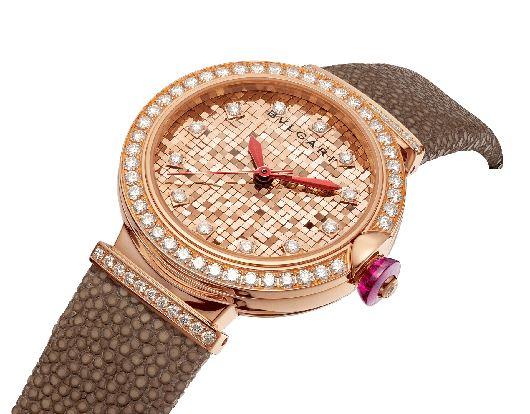 LVCEA watch with 18 kt rose gold case set with diamonds, 18 kt rose gold mosaic dial and bronze galuchat bracelet. 102799 image 2