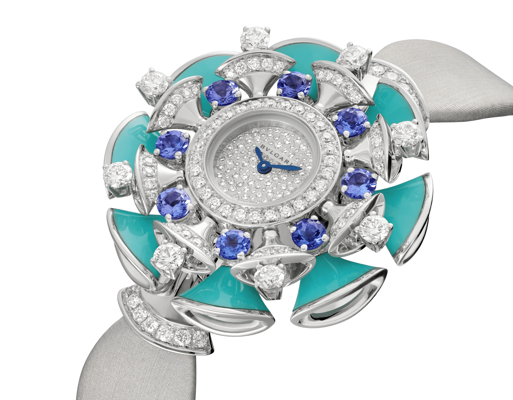 DIVAS' DREAM watch with 18 kt white gold case set with brilliant-cut diamonds, tanzanites and turquoises, snow pavé dial and grey satin bracelet 102421 image 2