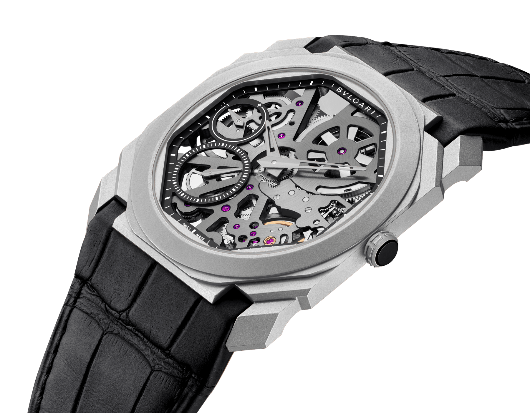 Octo Finissimo watch with ultra-thin skeletonized mechanical manufacture movement, manual winding and small seconds, titanium case, transparent dial and black alligator bracelet 102714 image 2
