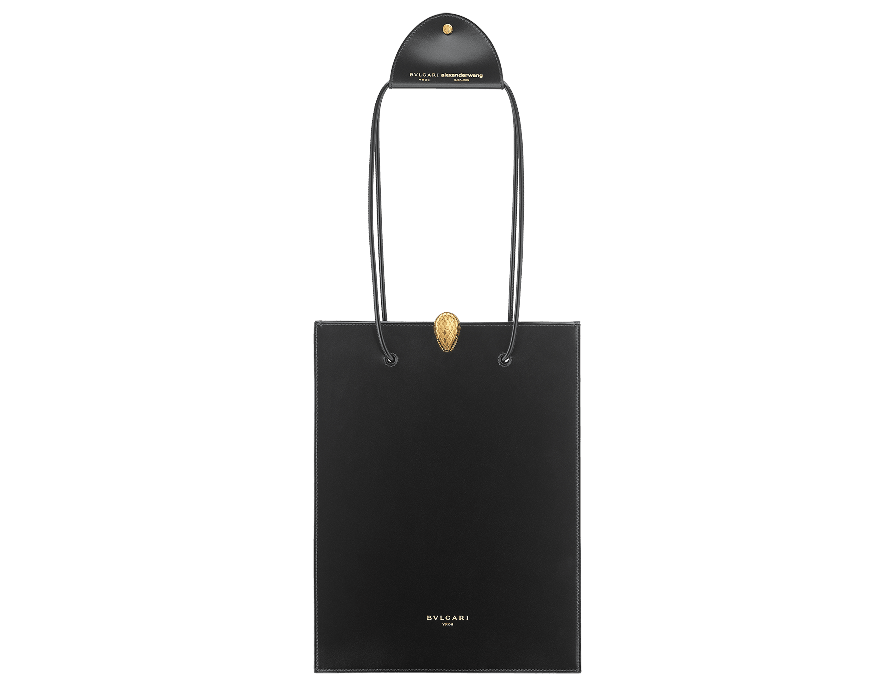 Alexander Wang x Bvlgari shopping tote bag in smooth black calf leather. New Serpenti head closure in antique gold plated brass with tempting red enamel eyes. Limited edition. 288733 image 1