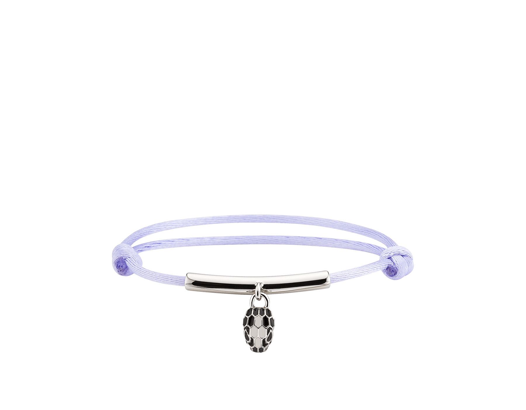 """""""Serpenti Forever"""" bracelet in daisy topaz silk with a palladium plated brass plate and an iconic snakehead charm in black and white agate enamel and black enamel eyes. SERP-MINISTRINGb image 2"""