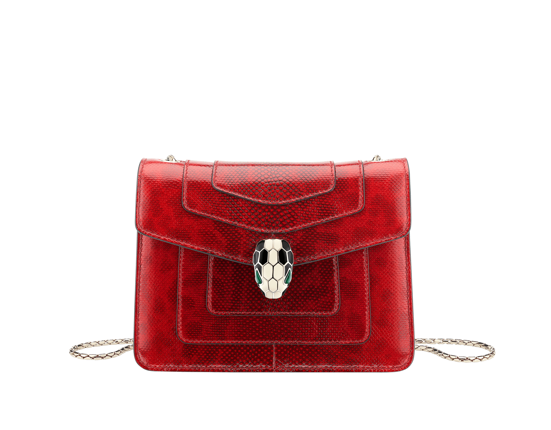 """Serpenti Forever "" crossbody bag in shiny carmine jasper karung skin. Iconic snakehead closure in light gold plated brass enriched with black and white enamel and green malachite eyes 287104 image 1"