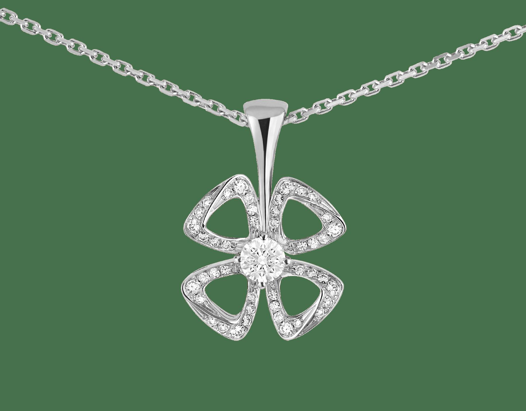 Fiorever 18K 白金項鍊,鑲飾 1 顆明亮型切割鑽石(0.10 克拉)和密鑲鑽石(0.06 克拉)。 358157 image 3