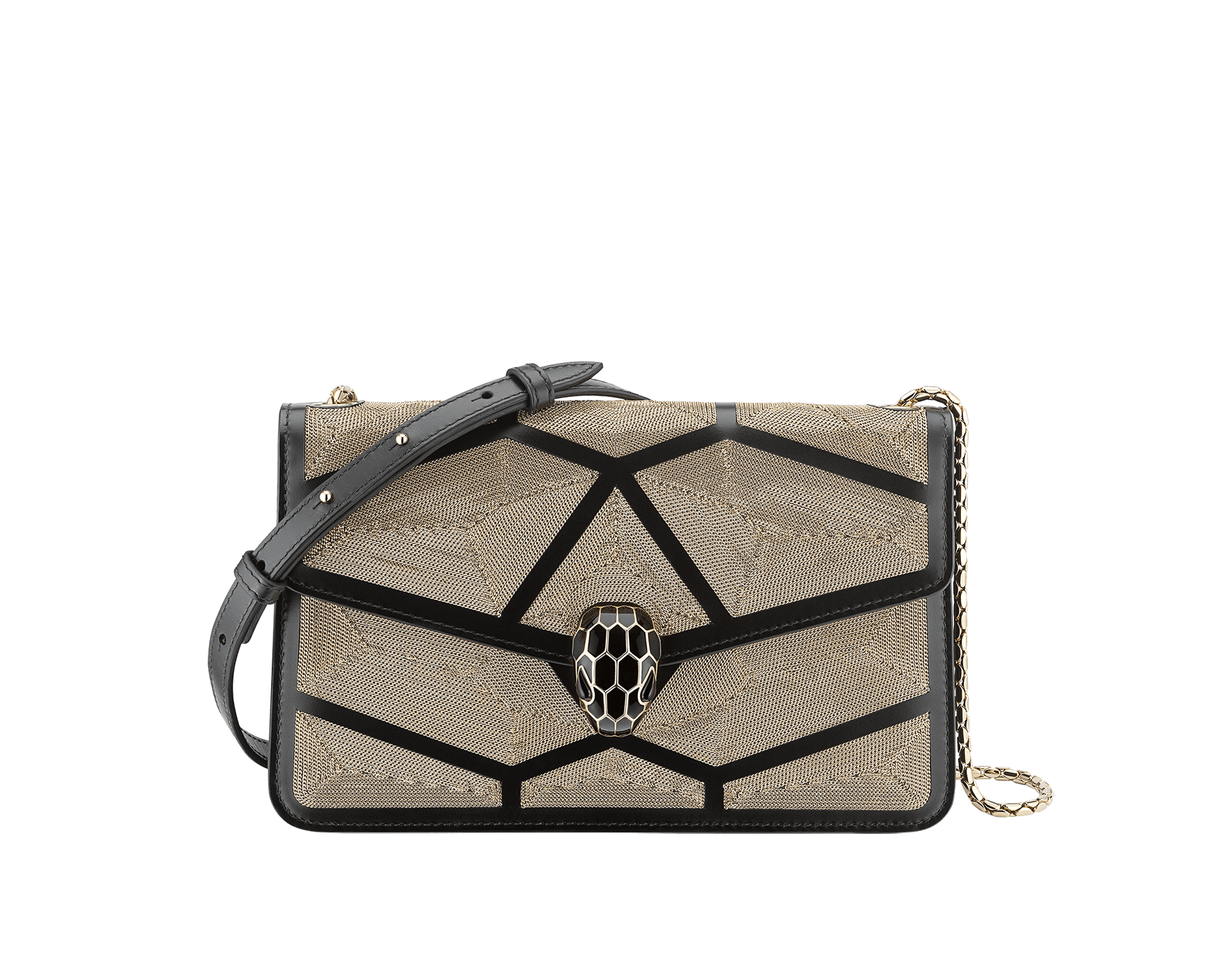 """Serpenti Forever"" crossbody bag in black calf leather with a Million Chain motif. Iconic snake head closure in light gold plated brass enriched with black enamel and black onyx eyes. 288909 image 1"