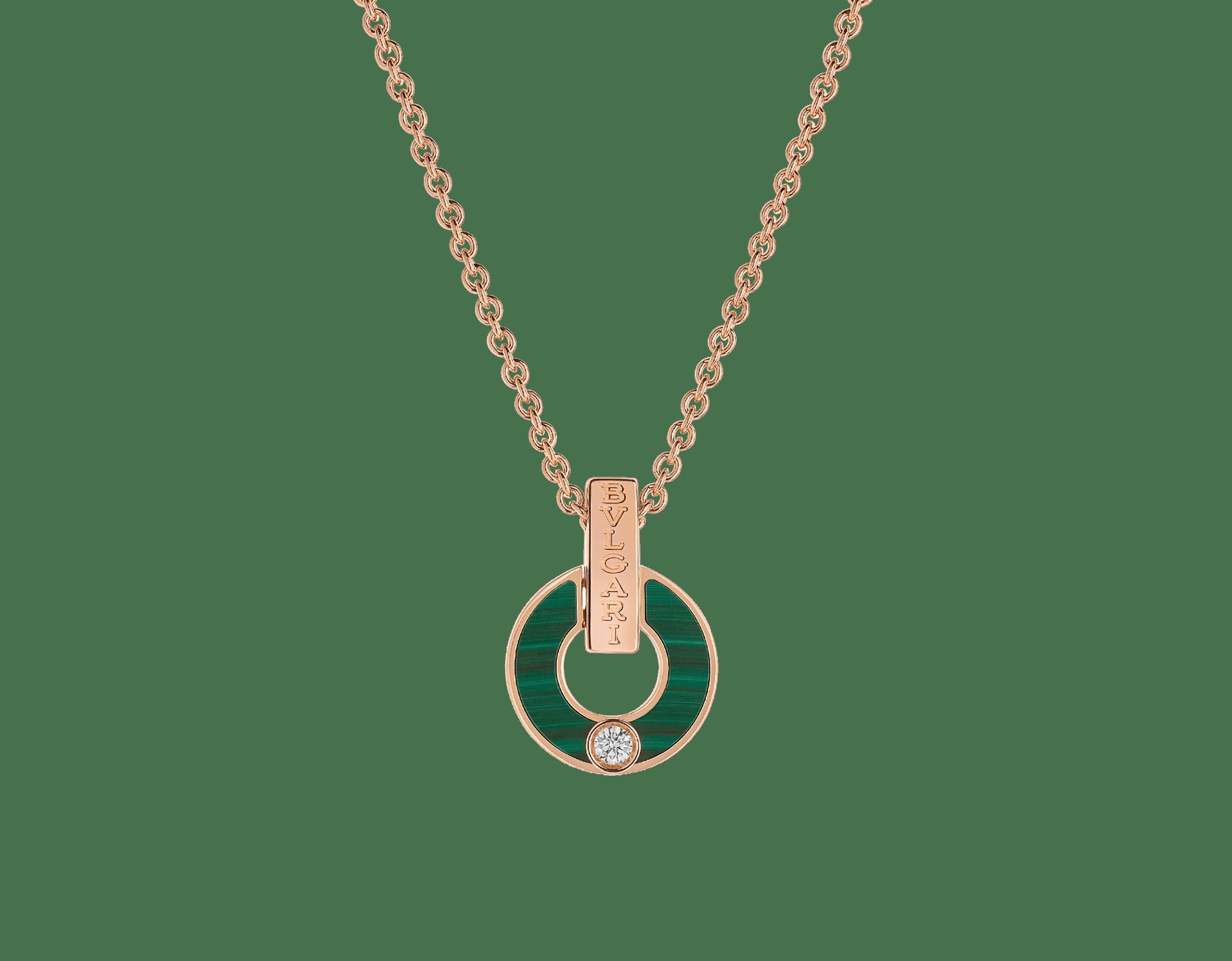 Skelettierte BVLGARI BVLGARI Halskette aus 18 Karat Roségold mit Malachit-Elementen und einem runden Diamanten im Brillantschliff 357313 image 1
