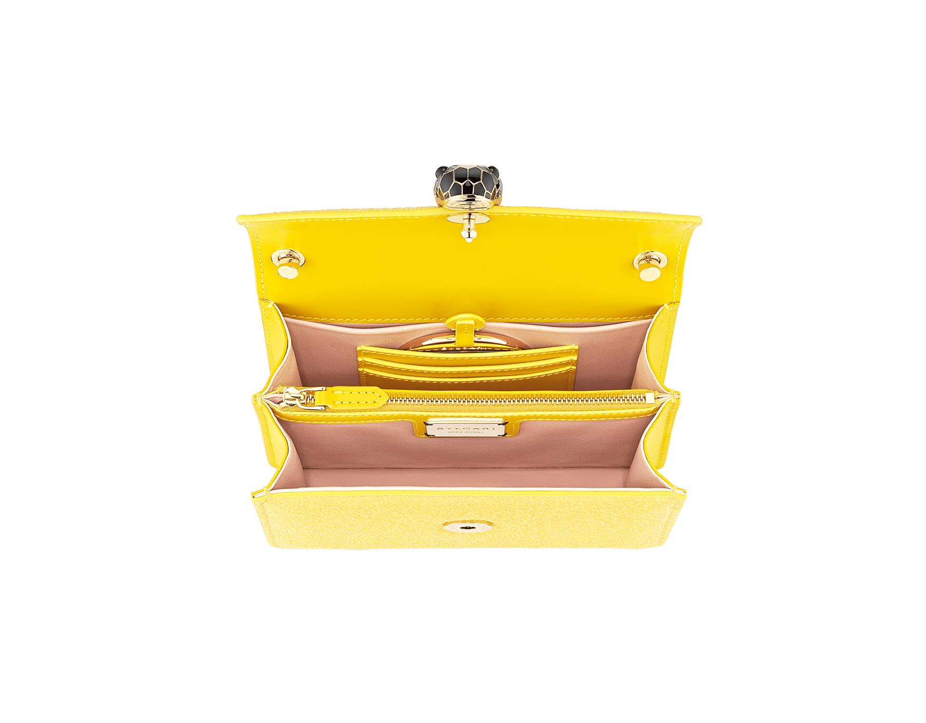 """Serpenti Forever"" crossbody bag in daisy topaz full galuchat skin body and daisy topaz calf leather sides. Iconic snakehead closure in light gold plated brass enriched with black and white enamel and black onyx eyes. 290242 image 4"