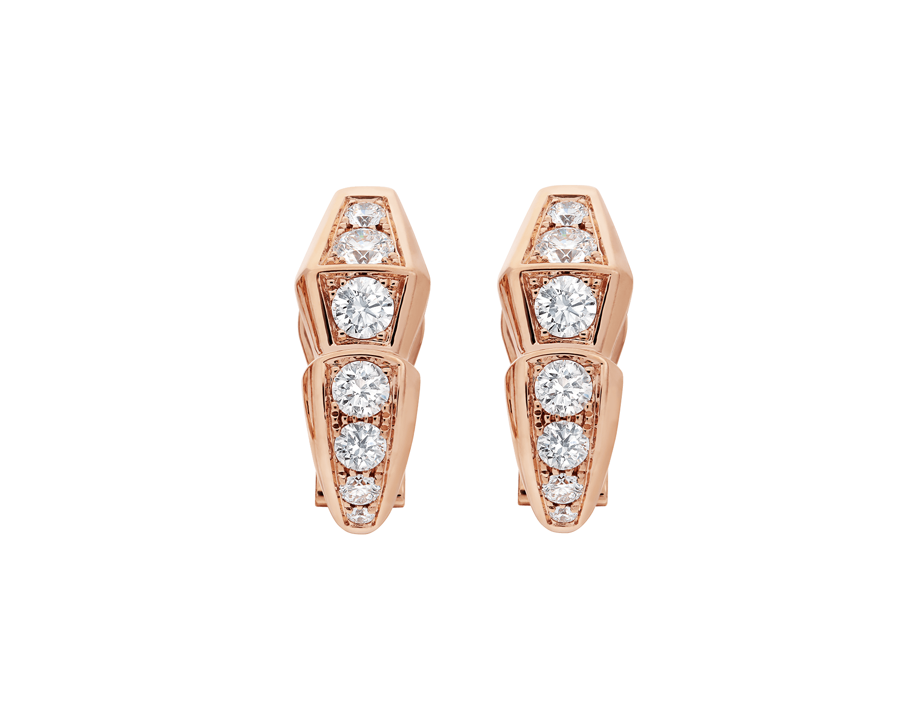 Serpenti Viper earrings in 18 kt rose gold, set with pavé diamonds. 354035 image 1