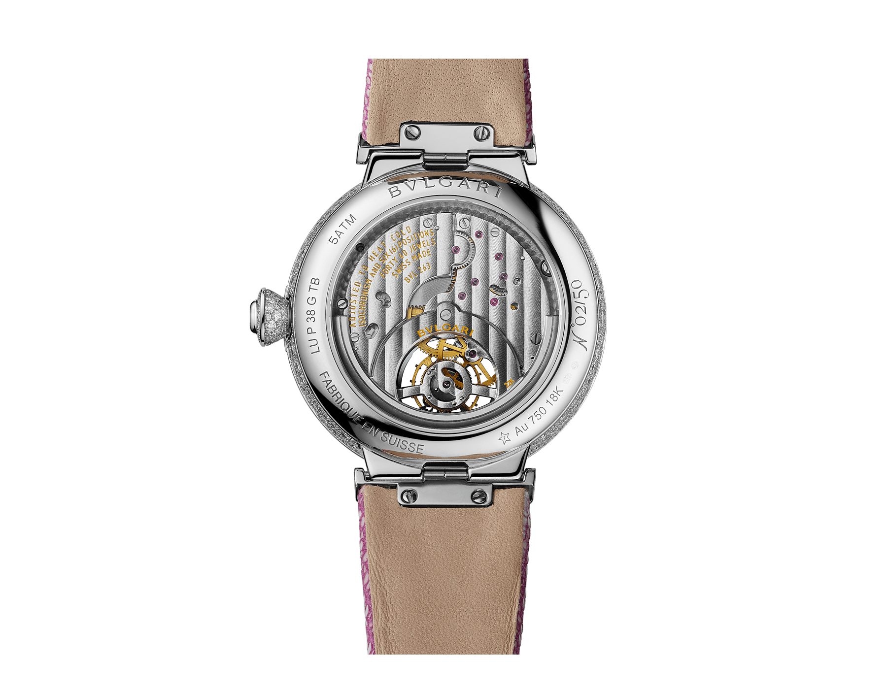 LVCEA Tourbillon Limited Edition watch with mechanical manufacture movement, automatic winding, see-through tourbillon, 18 kt white gold case set with round brilliant-cut diamonds, full-pavé dial with round brilliant-cut diamonds and pink colour finish, and pink galuchat bracelet 102887 image 3