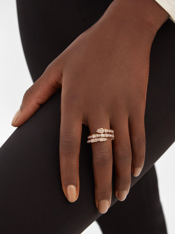 Bague deux tours Serpenti Viper en or rose 18K avec pavé diamants AN858794 image 1
