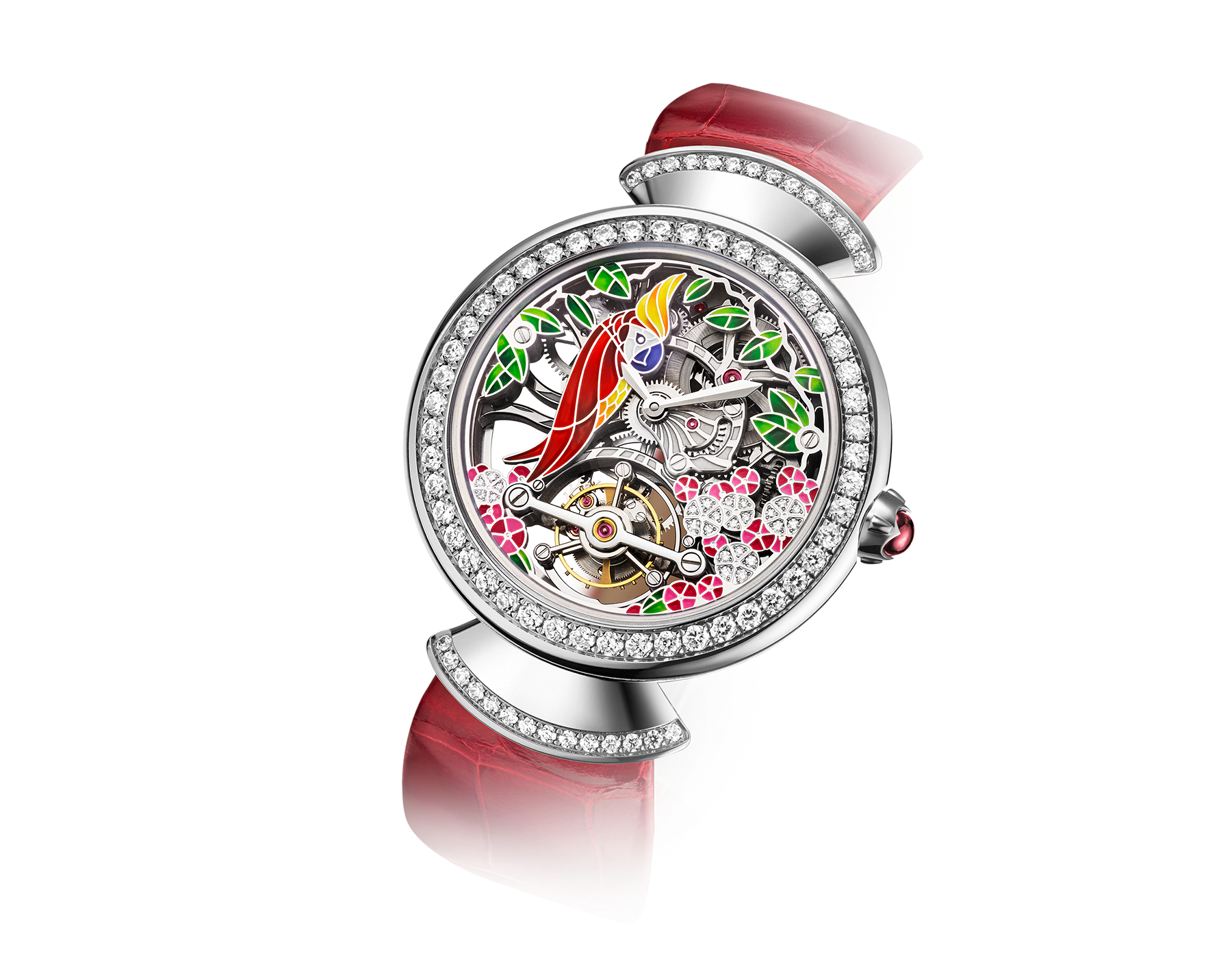 DIVAS' DREAM watch with 18kt white gold mechanical manufacture skeletonized movement and tourbillon. 18 kt white gold case set with brilliant-cut diamonds, dial with hand painted parrot, flowers and leaves set with diamonds and red alligator bracelet 102517 image 2