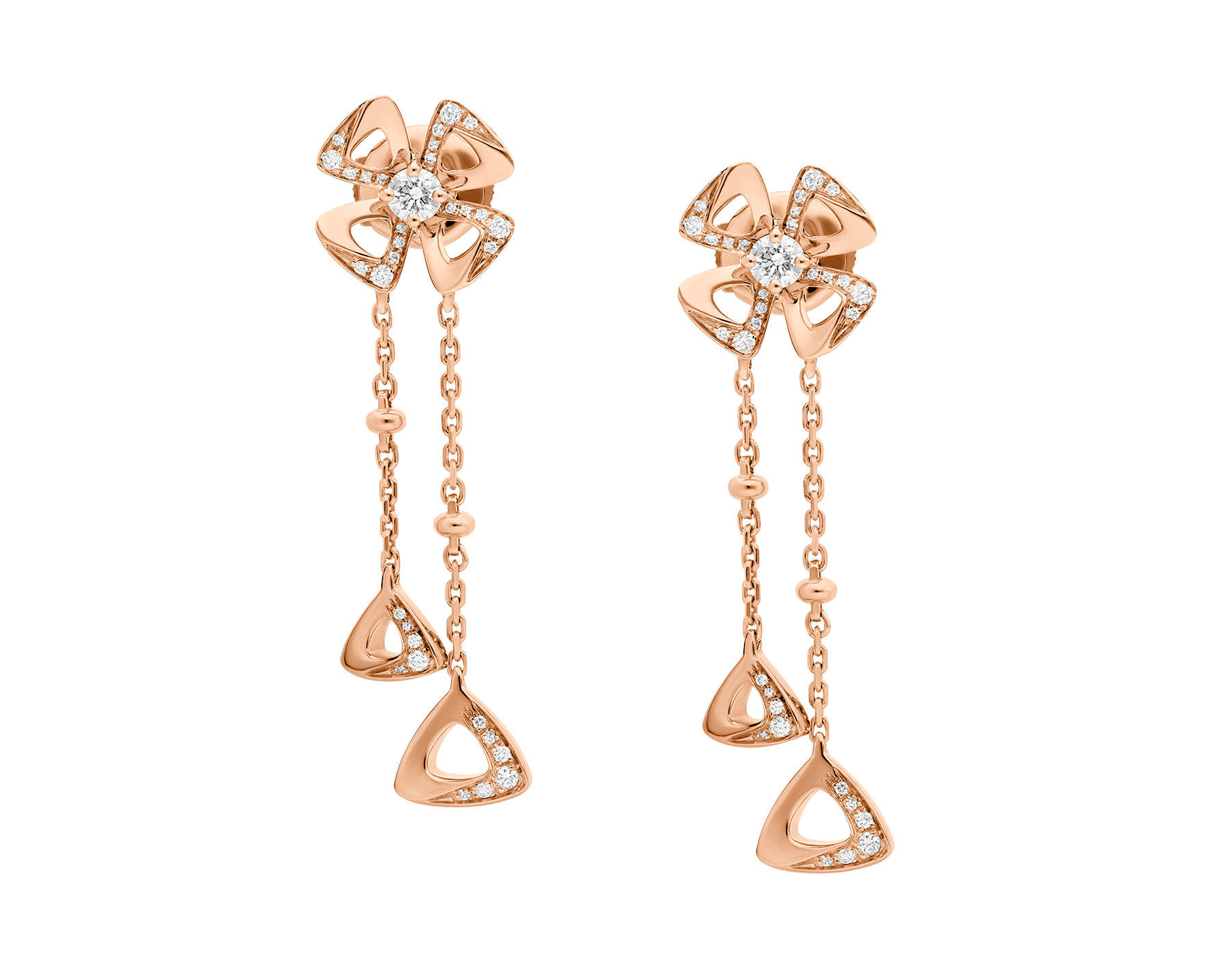 Fiorever 18 kt rose gold pendant Earring set with two round brilliant-cut diamonds (0.21 ct) and pavé diamonds (0.17 ct) 357143 image 1