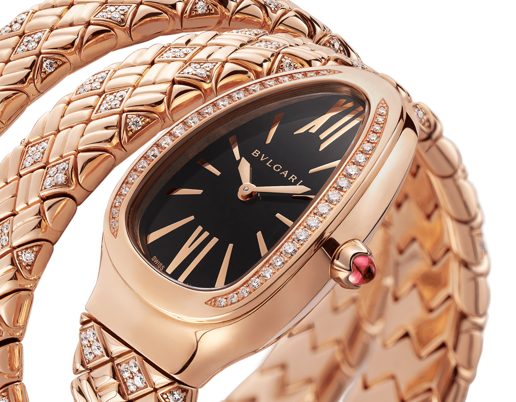 Serpenti Spiga double-spiral watch with 18 kt rose gold case and bracelet set with diamonds, and black dial 103252 image 3