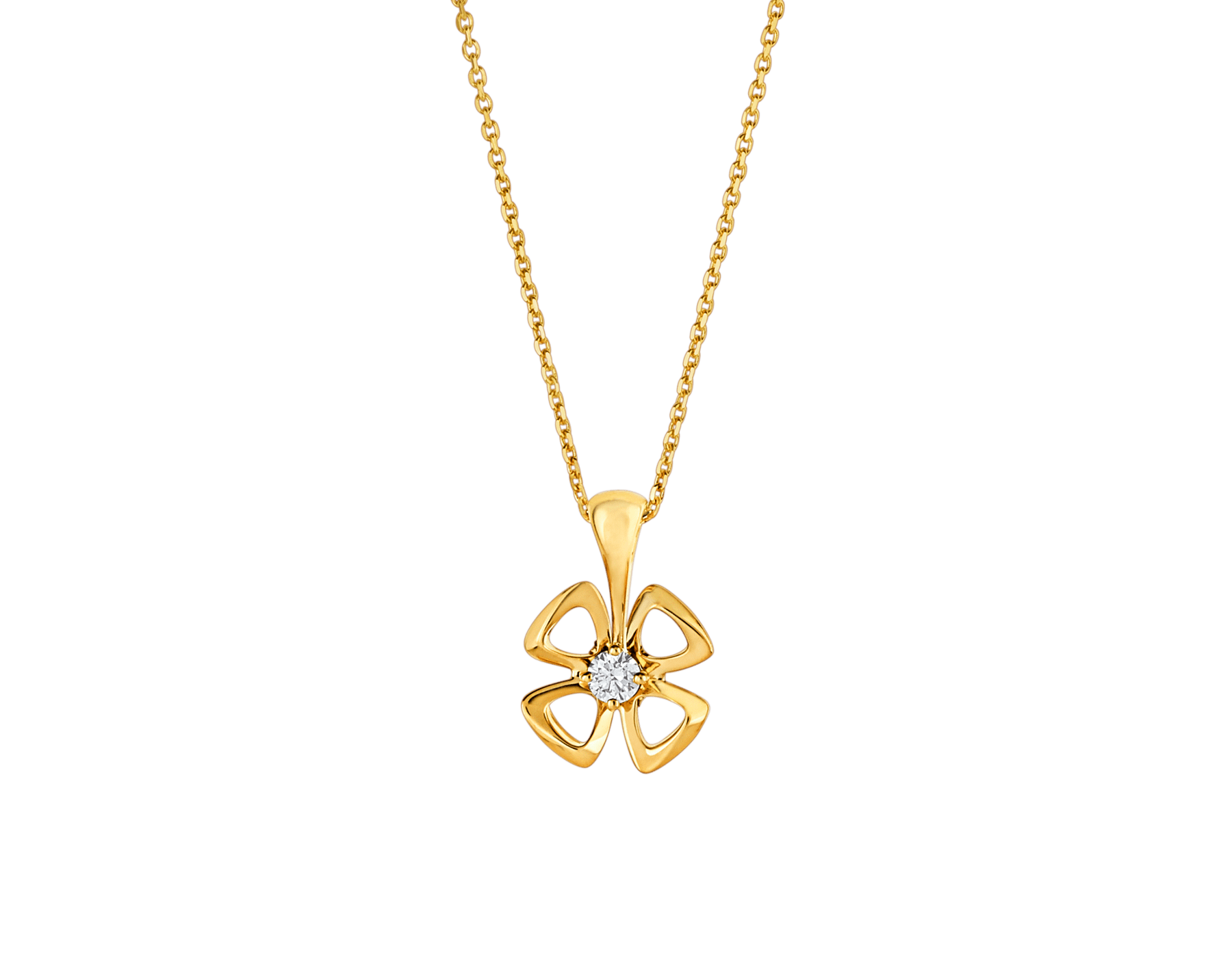 Fiorever 18 kt yellow gold necklace set with a central diamond. 357501 image 1