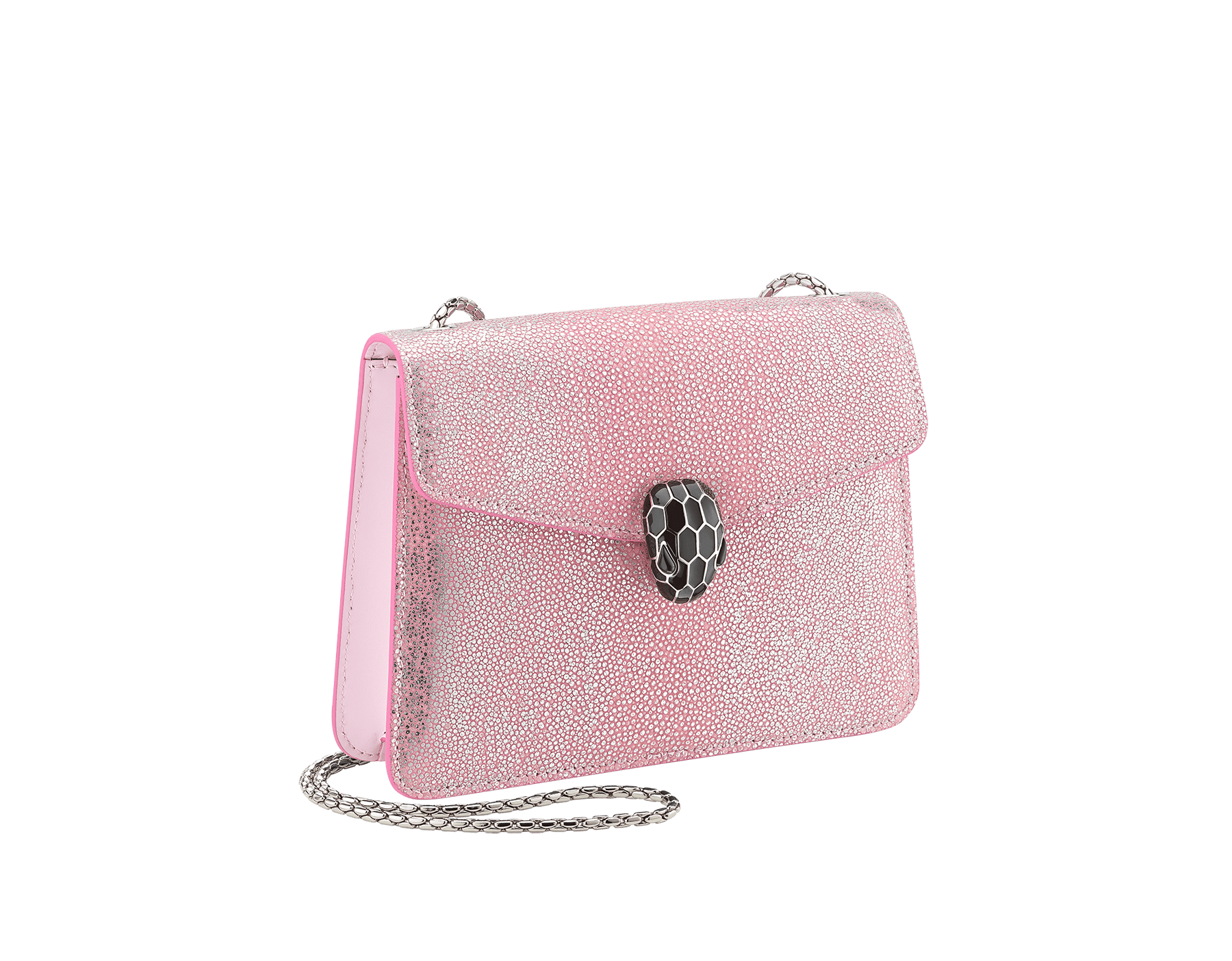 """Serpenti Forever"" crossbody bag in rosa di francia crystal galuchat skin. Iconic snake head closure in palladium plated brass enriched with black enamel and black onyx eyes. 289408 image 2"