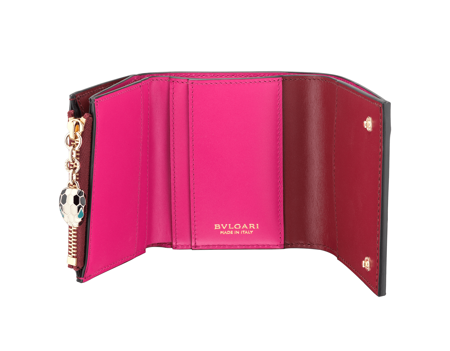 Serpenti Forever super compact wallet in roman garnet and pink spinel calf leather. Iconic snakehead zip puller in black and white enamel, with green malachite enamel eyes. 288036 image 2