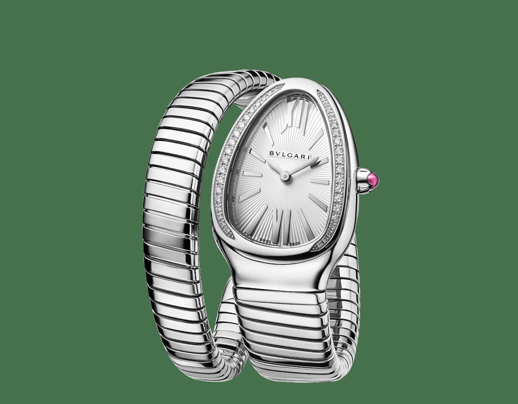 Reloj Serpenti Tubogas con caja y brazalete de una vuelta en acero inoxidable con esfera plateada opalescente. Talla grande. SrpntTubogas-white-dial1 image 2