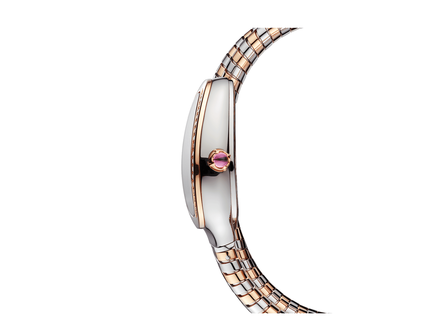 Serpenti Tubogas double spiral watch with stainless steel case, 18 kt rose gold bezel set with diamonds, silver opaline dial with guilloché soleil treatment, stainless steel and 18 kt rose gold bracelet 103149 image 3