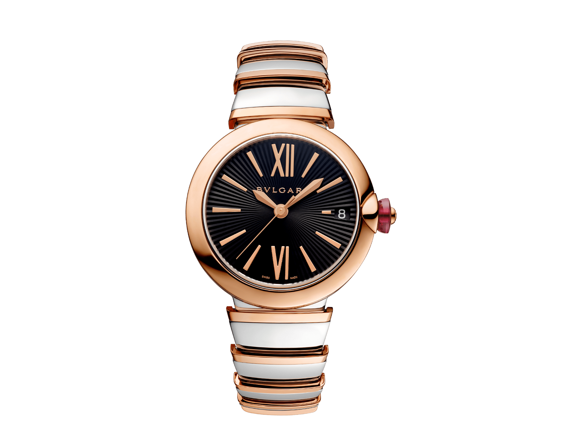 LVCEA watch in 18kt rose gold and stainless steel case and bracelet, with black opaline dial. 102192 image 1
