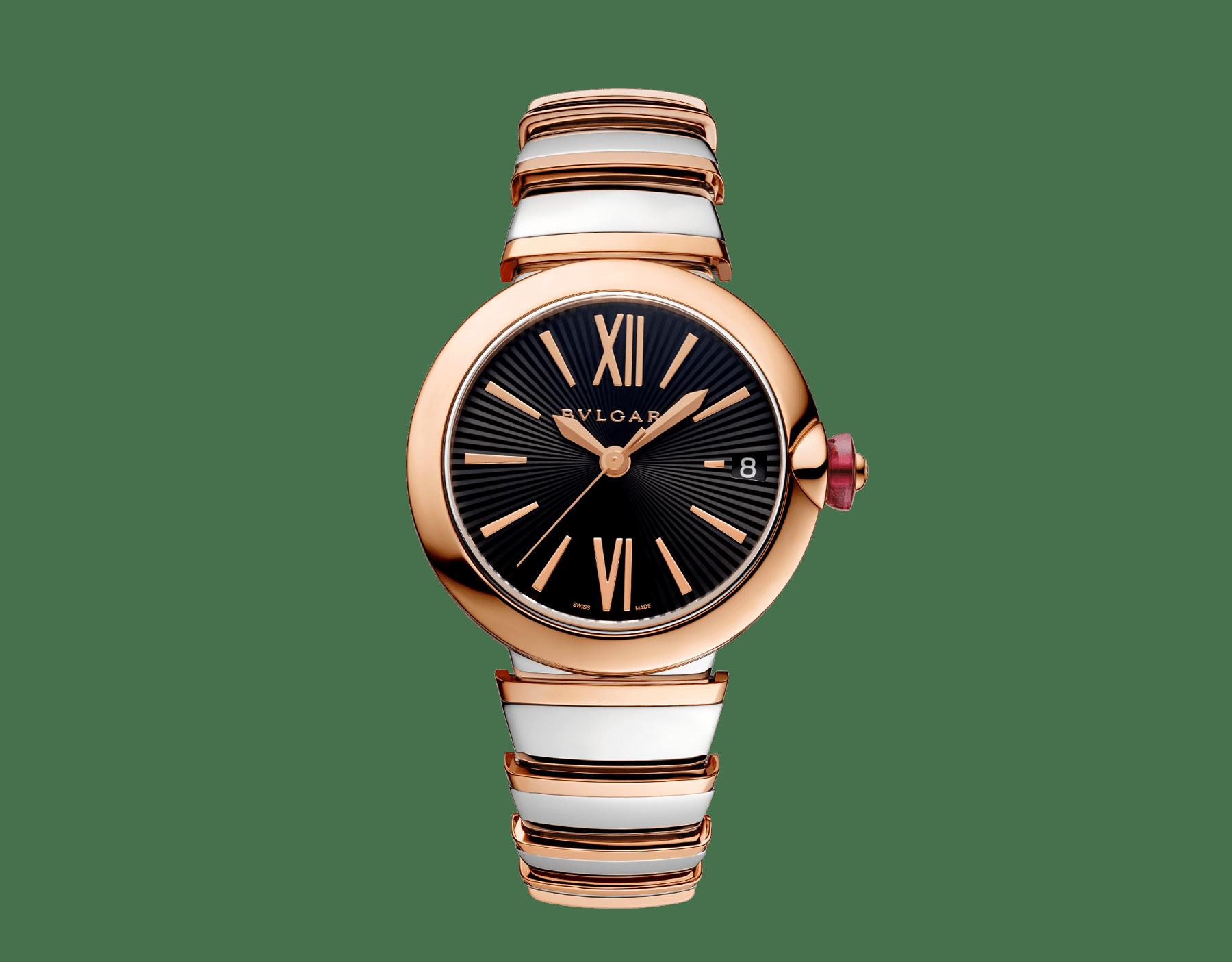 Montre LVCEA avec boîtier et bracelet en or rose 18K et acier inoxydable, cadran en opaline noire. 102192 image 1