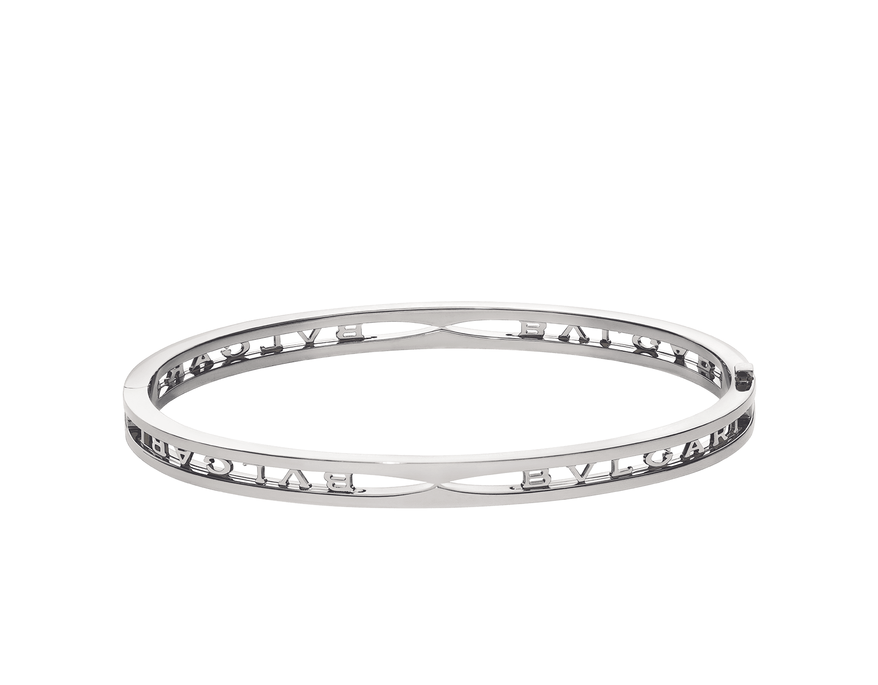 B.zero1 18 kt white gold bangle bracelet with BVLGARI logo on the spiral BR858725 image 2
