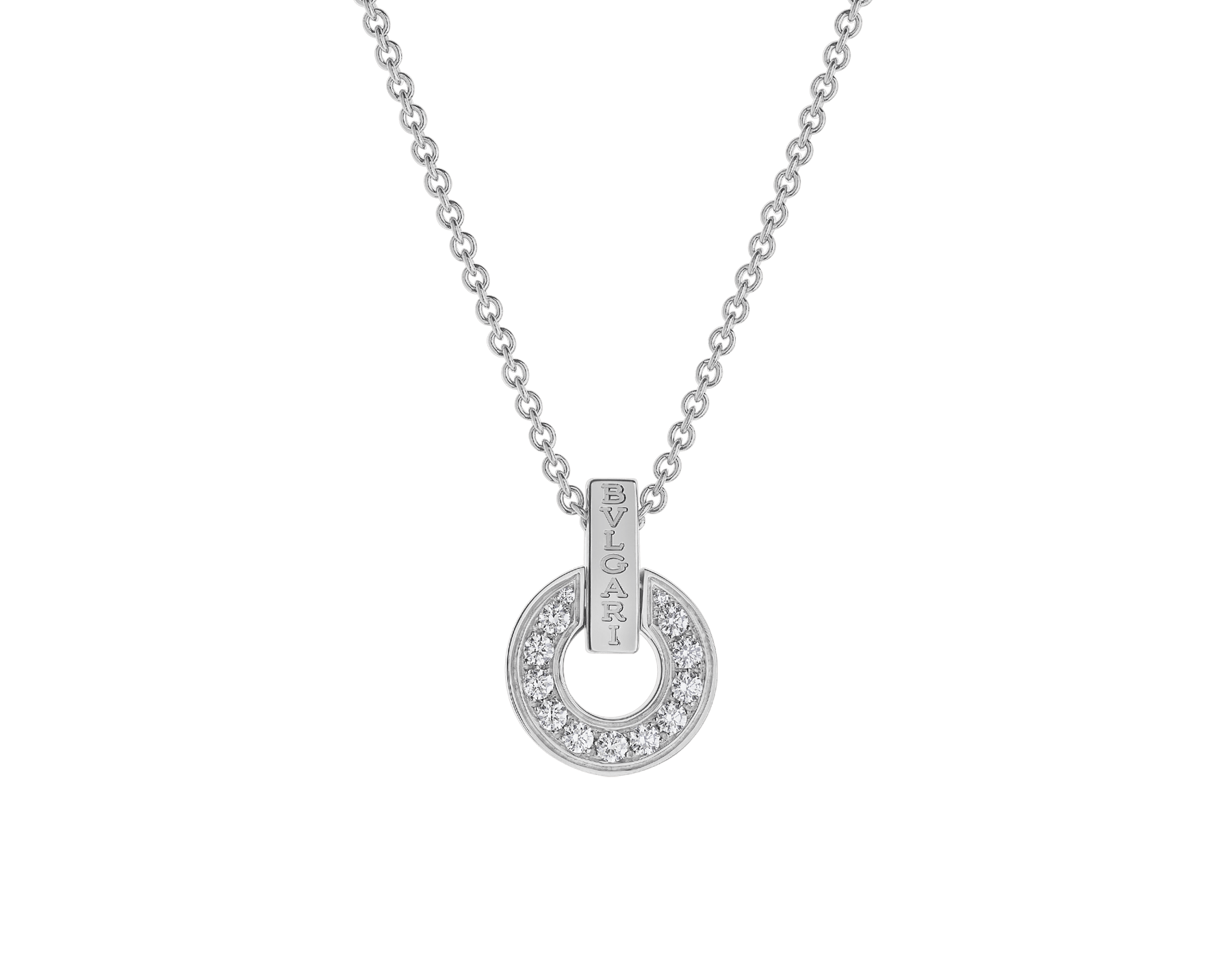 BVLGARI BVLGARI openwork 18 kt white gold necklace set with full pavé diamonds on the pendant 357938 image 1
