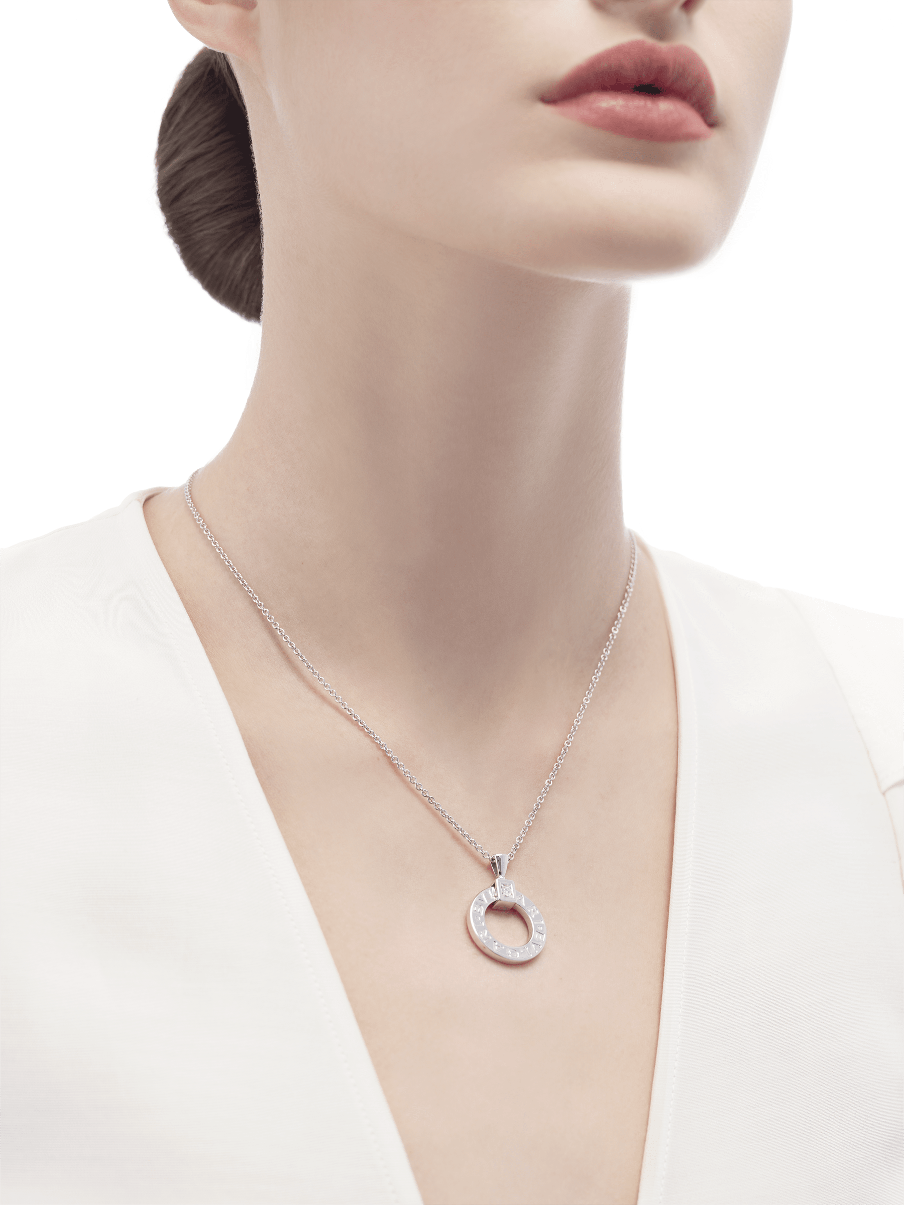 BVLGARI BVLGARI necklace with 18 kt white gold chain and 18 kt white gold pendant set with a diamond 342074 image 4