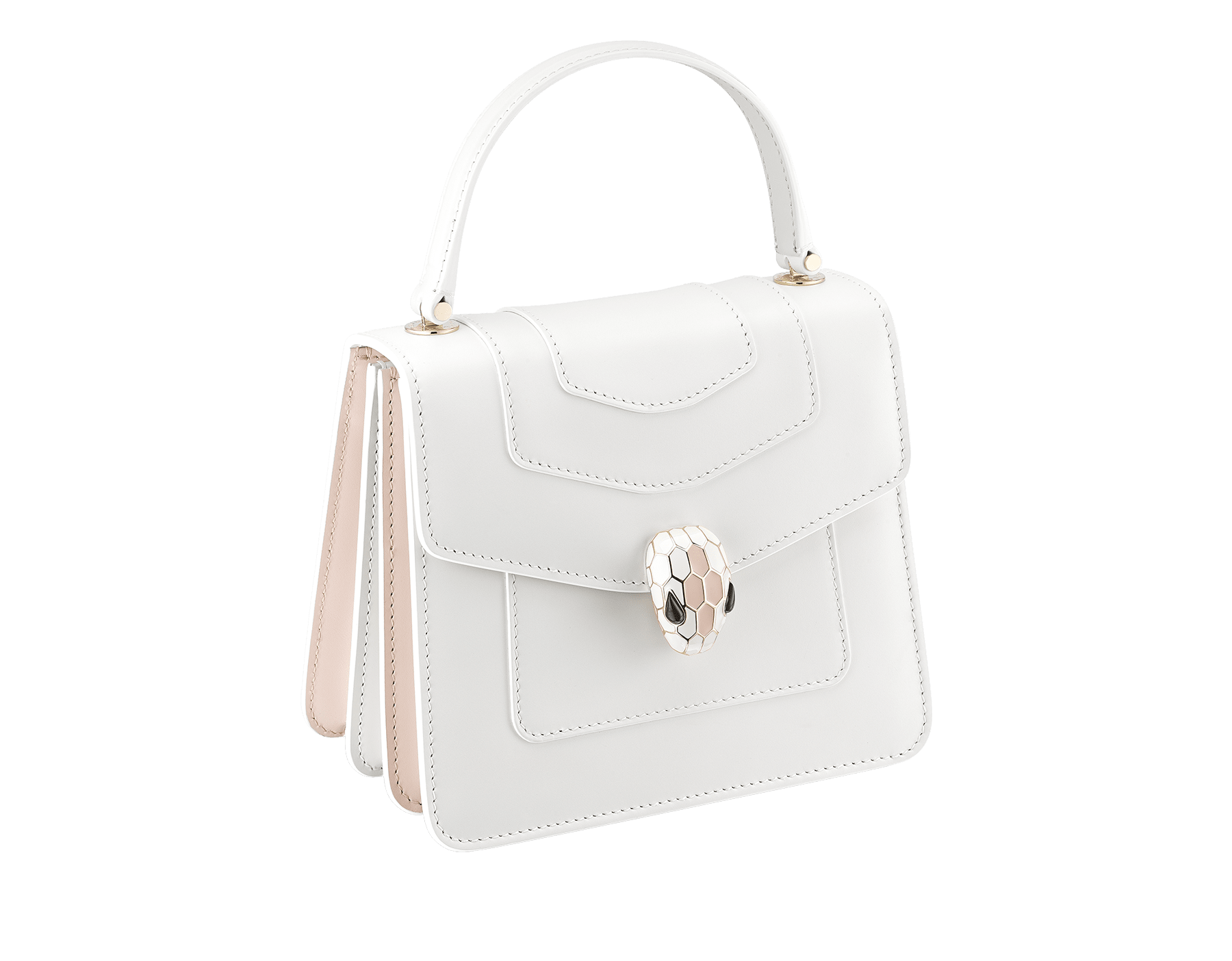 """Serpenti Forever "" crossbody bag in white calf leather body and white agate and crystal rose calf leather sides. Iconic snake head closure in light gold plated brass enriched with white and crystal rose enamel and black onyx eyes. 752-MCLa image 2"