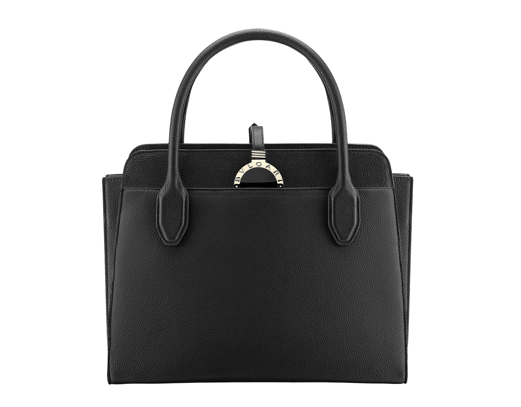 Tote bag Bulgari-Bulgari Alba in black grain calf leather with zip closure. Pendant motif in brass light gold plated metal featuring the iconic double logo and Tubogas motif. 282591 image 1