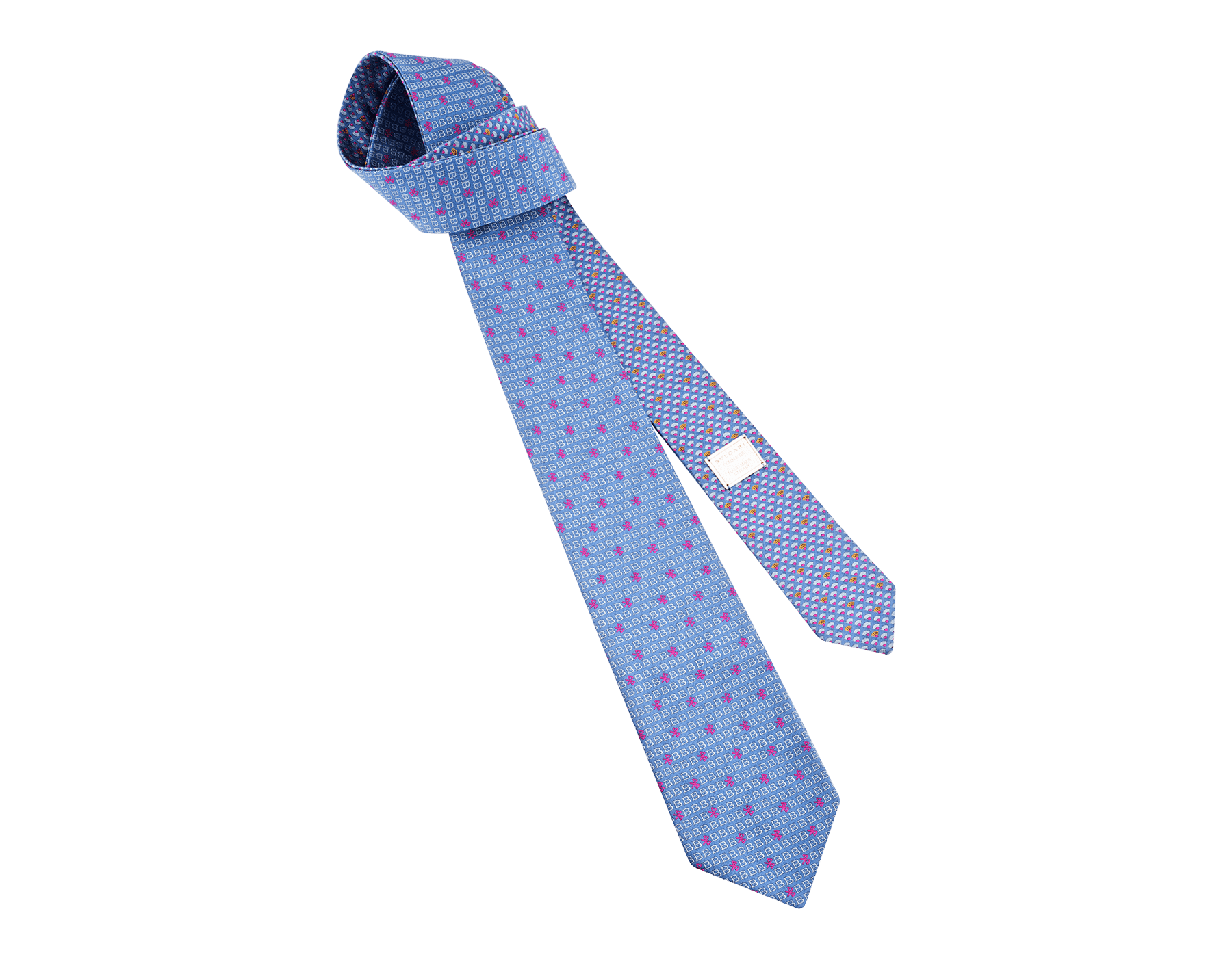 Blue Double BVL Tech pattern tie in fine silk. 243709 image 1