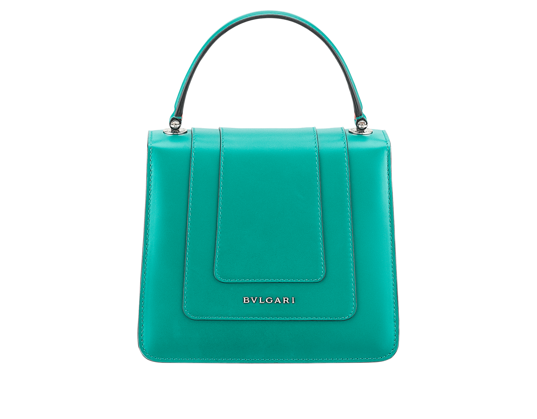 Serpenti Forever crossbody bag in tropical turquoise smooth calf leather body and sea star coral calf leather sides. Snakehead closure in light gold plated brass decorated with tropical turquoise and black enamel, and black onyx eyes. 287964 image 3