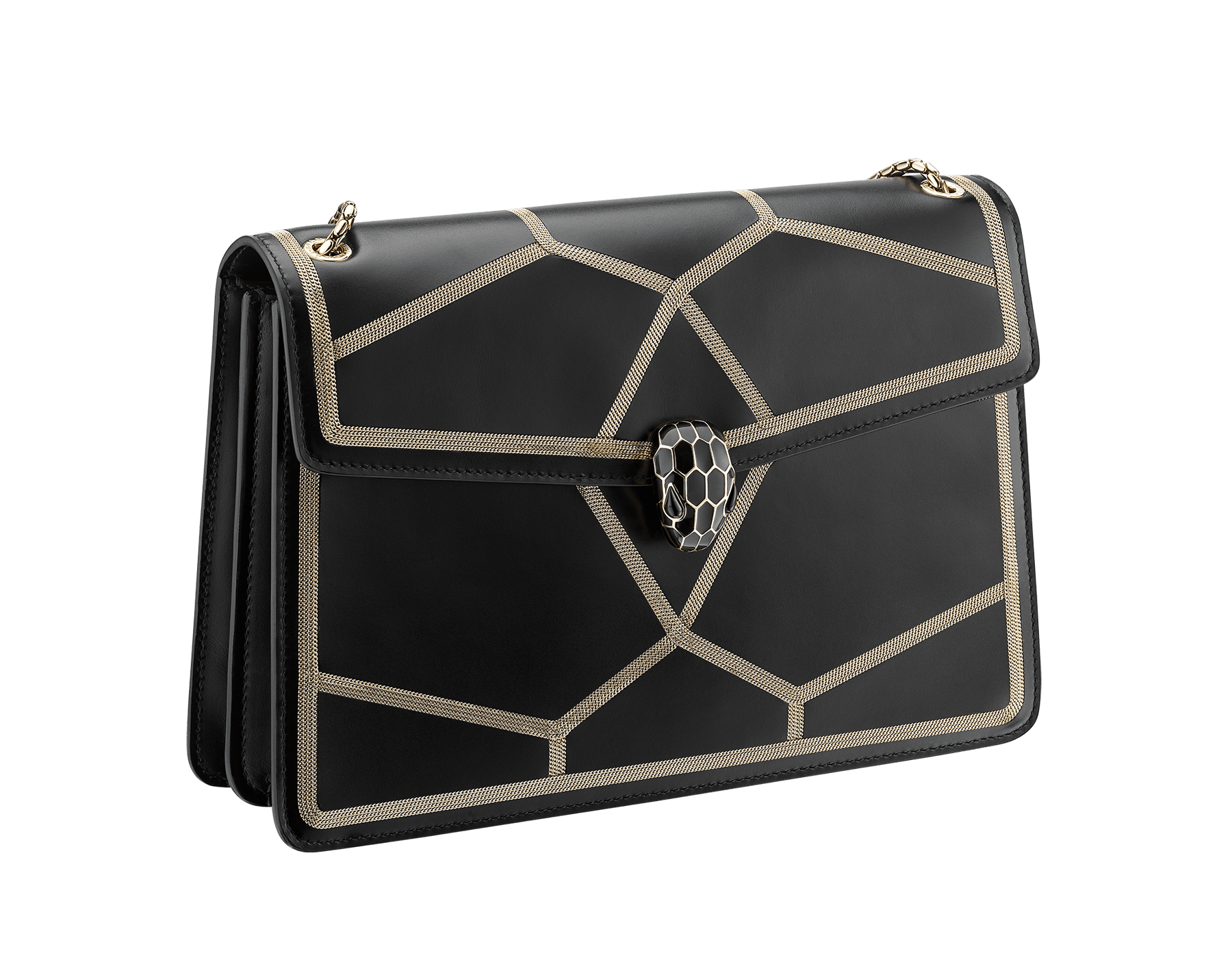 """Serpenti Forever"" shoulder bag in black calf leather and Million chain frame body and black calf leather sides. Iconic snake head closure in light gold plated brass enriched with black enamel and black onyx eyes. 521-GCP image 2"