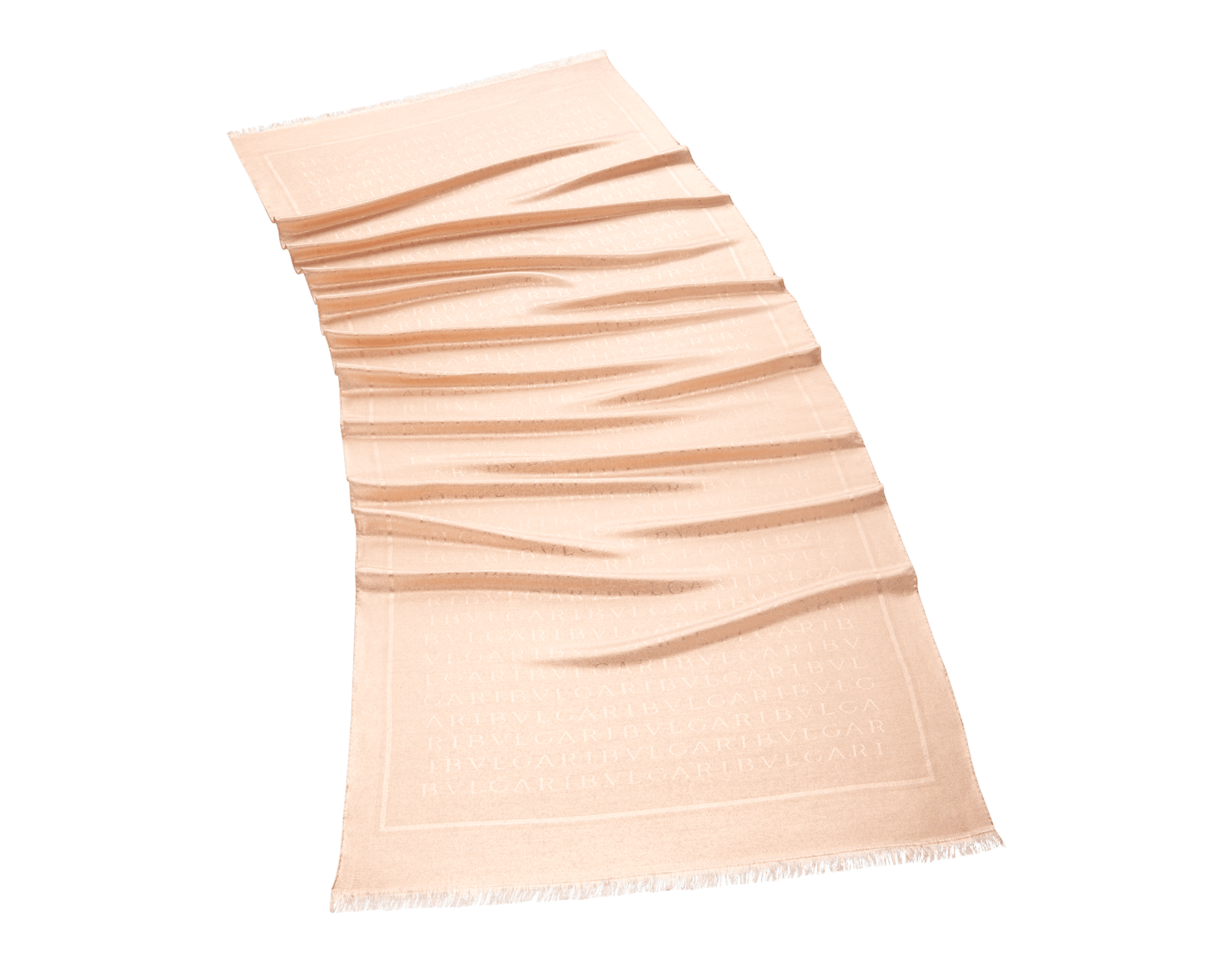 "Peach orange gold ""Lettere Maxi Metal"" stolein fine silk wool. 244578 image 1"