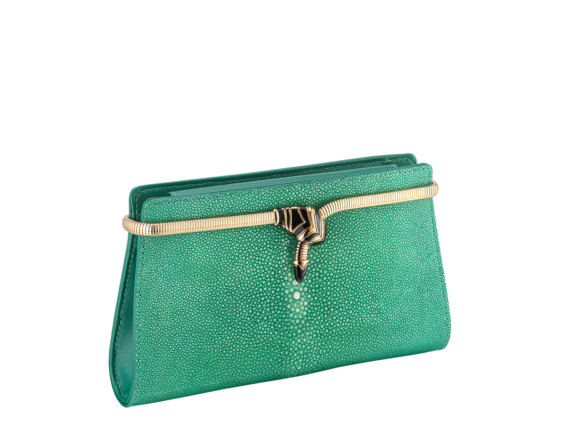 Serpenti Tubogas clutch in green galuchat skin with brass light pink gold plated snake body shaped frame closure with black enamel. 526-001-0671S image 2
