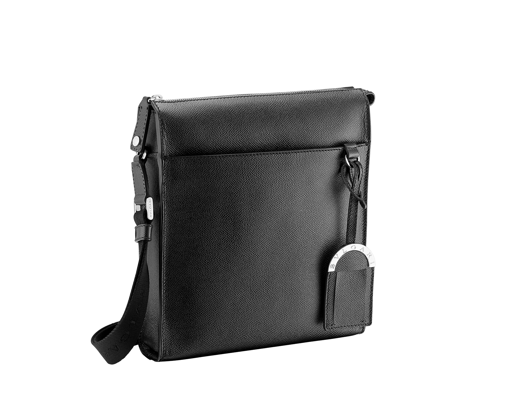 Black grain calf leather zip-top messenger bag with brass palladium hardware, two open pockets and the Bulgari logo metal tag inside. One open outside pocket, iconic detachable label tag and adjustable shoulder strap. 37628 image 2