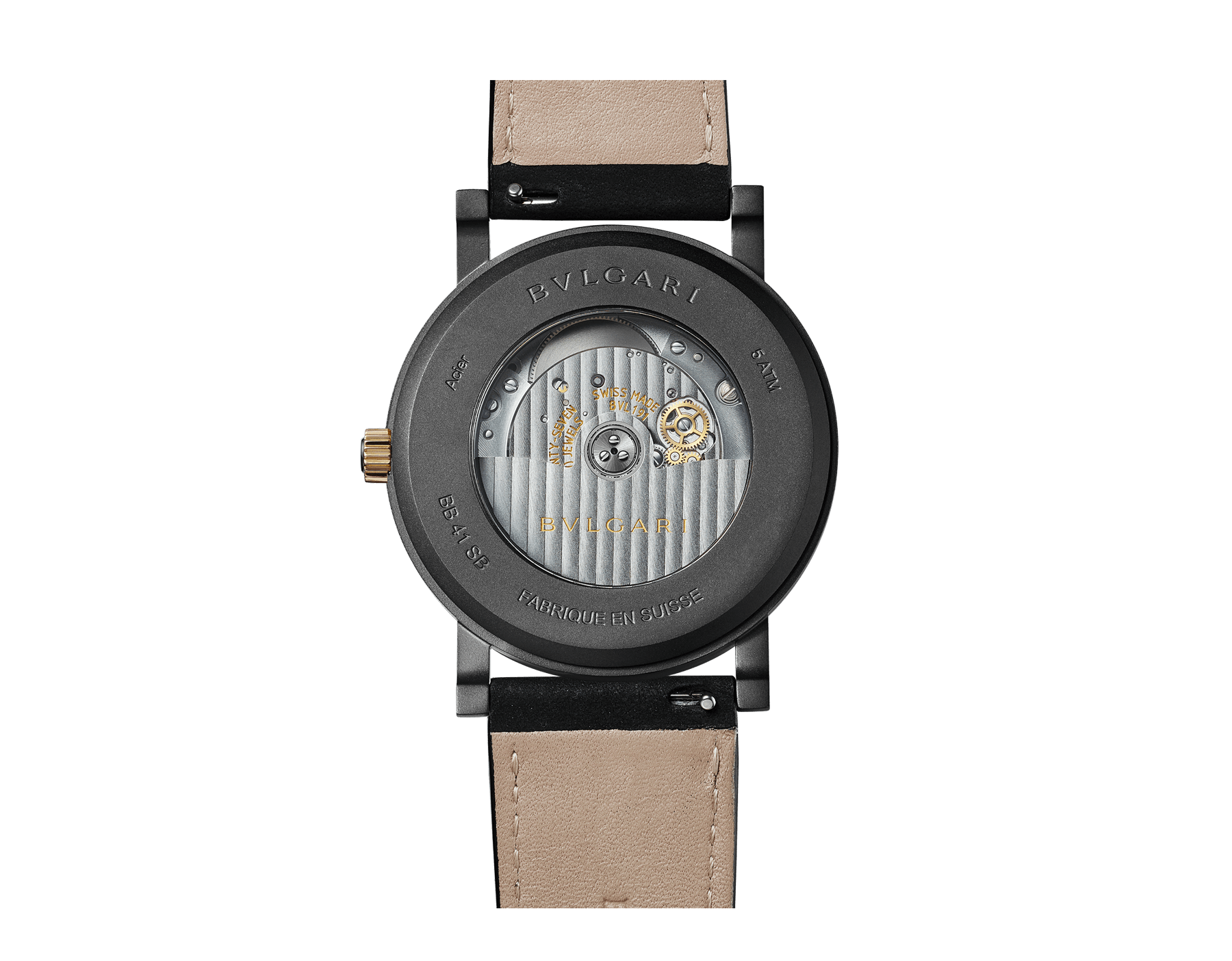 BVLGARI BVLGARI Solotempo watch with mechanical manufacture movement, automatic winding and date, stainless steel case treated with black Diamond Like Carbon, bronze bezel engraved with double logo, black dial, black leather bracelet and interchangeable black rubber bracelet 102931 image 3