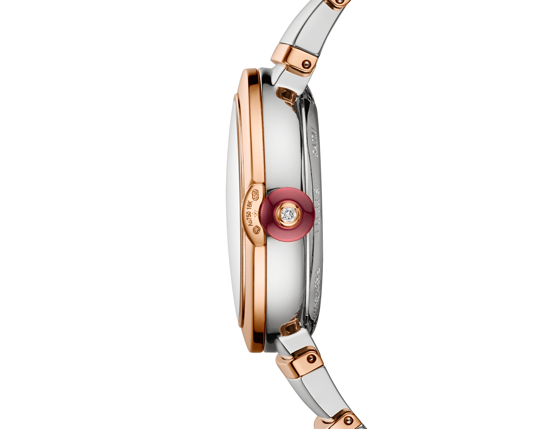 LVCEA watch with stainless steel case, 18 kt rose gold bezel, white mother-of-pearl dial, diamond indexes, stainless steel and 18 kt rose gold bracelet. 102198 image 2