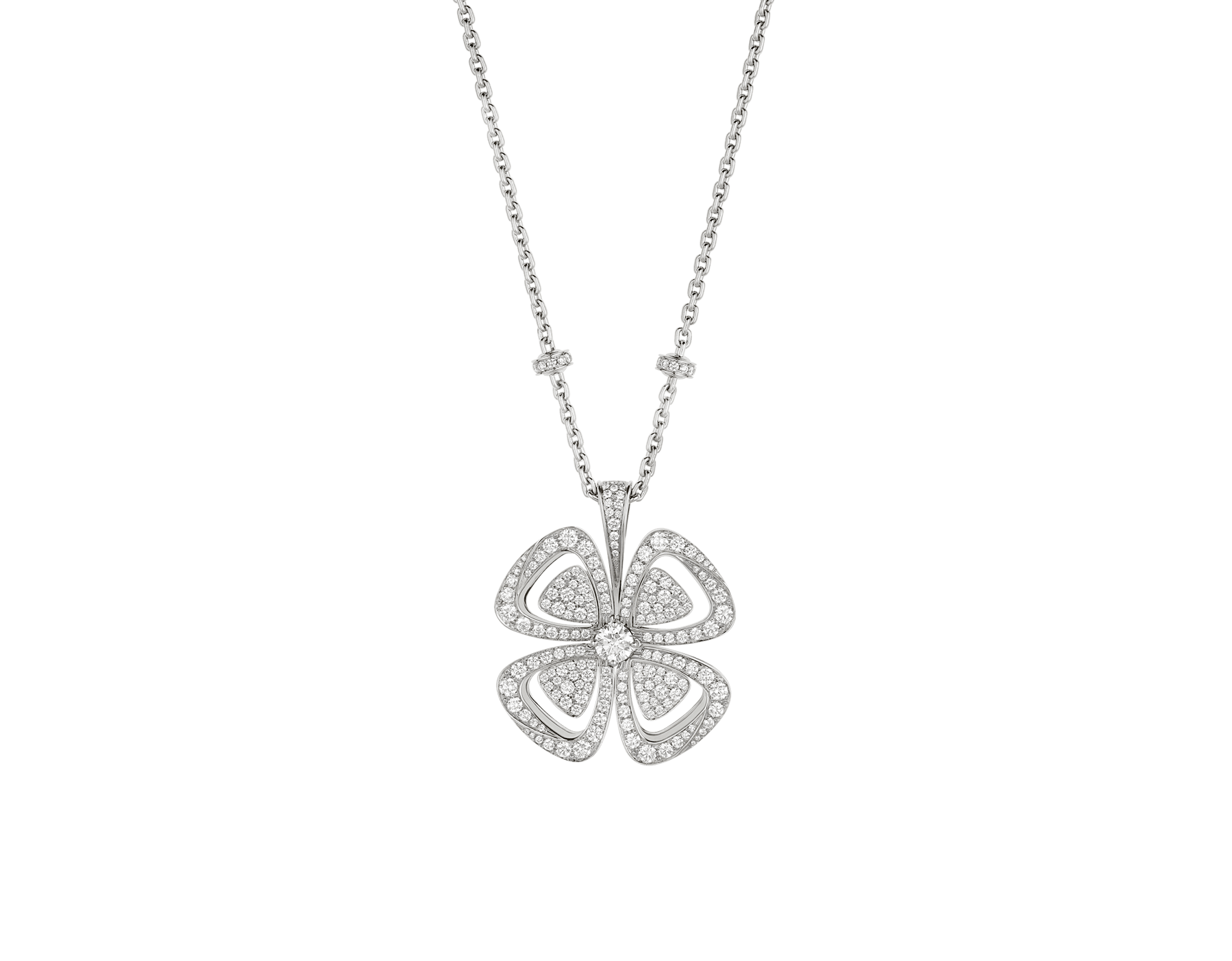 Fiorever 18 kt white gold necklace set with a central round brilliant-cut diamond (0.70 ct) and pavé diamonds (4.63 ct) 357219 image 1