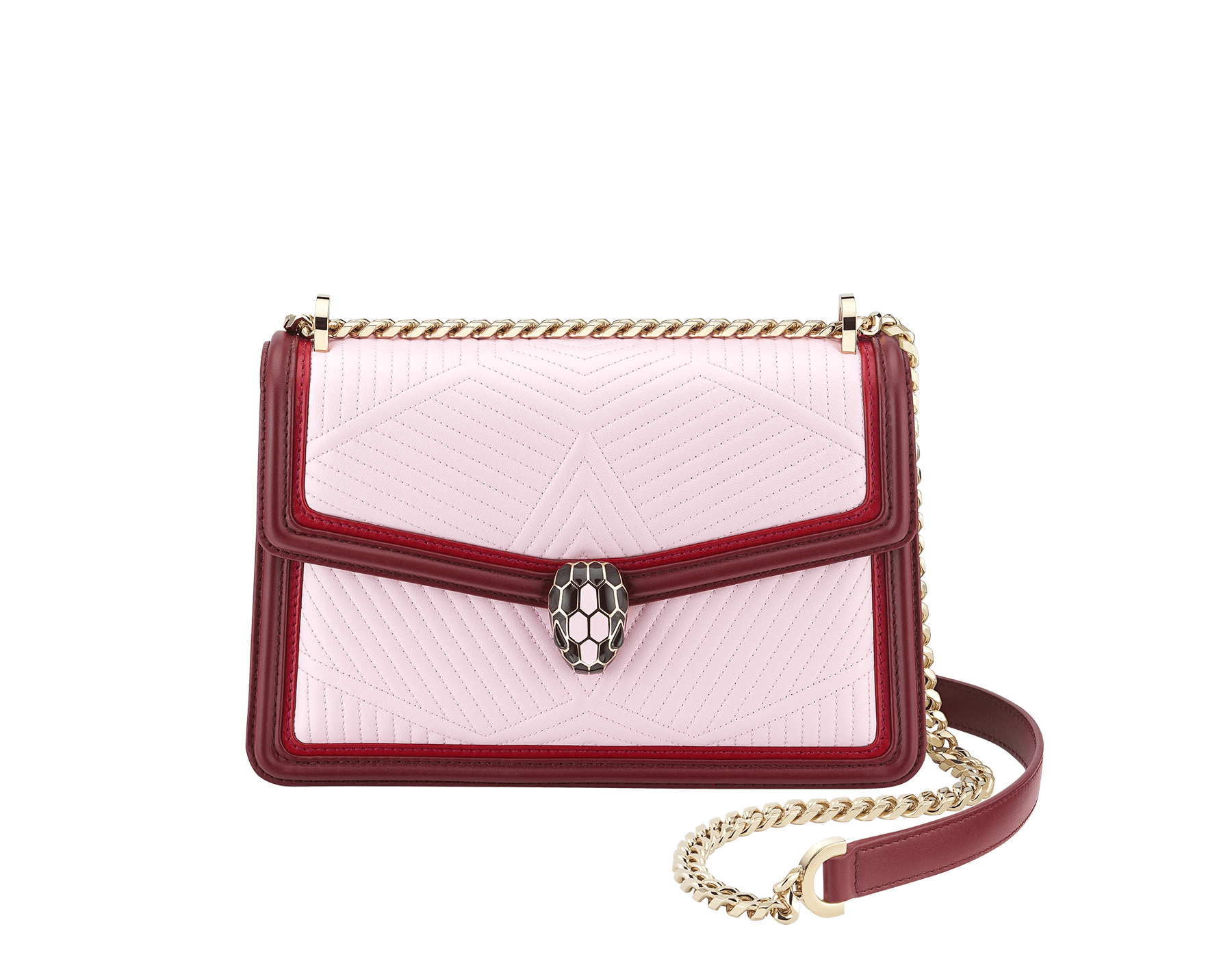 """Serpenti Diamond Blast"" shoulder bag in rosa di francia quilted calf leather and Roman garnet calf leather frames. Iconic snakehead closure in light gold plated brass enriched with black and rosa di francia enamel and black onyx eyes. 289462 image 1"