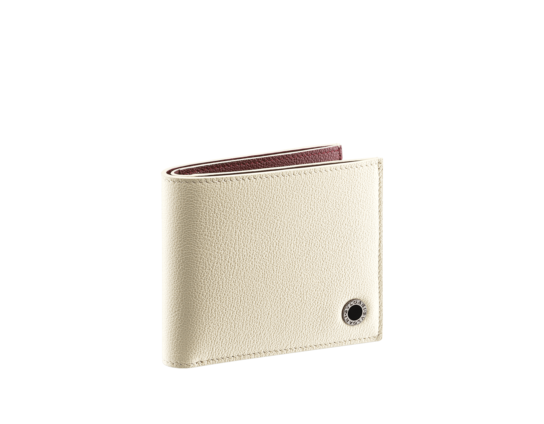 """""""BVLGARI BVLGARI"""" men's compact wallet in black and Forest Emerald green """"Urban"""" grain calf leather. Iconic logo embellishment in dark ruthenium-plated brass with black enamelling. BBM-WLT2FASYM image 1"""