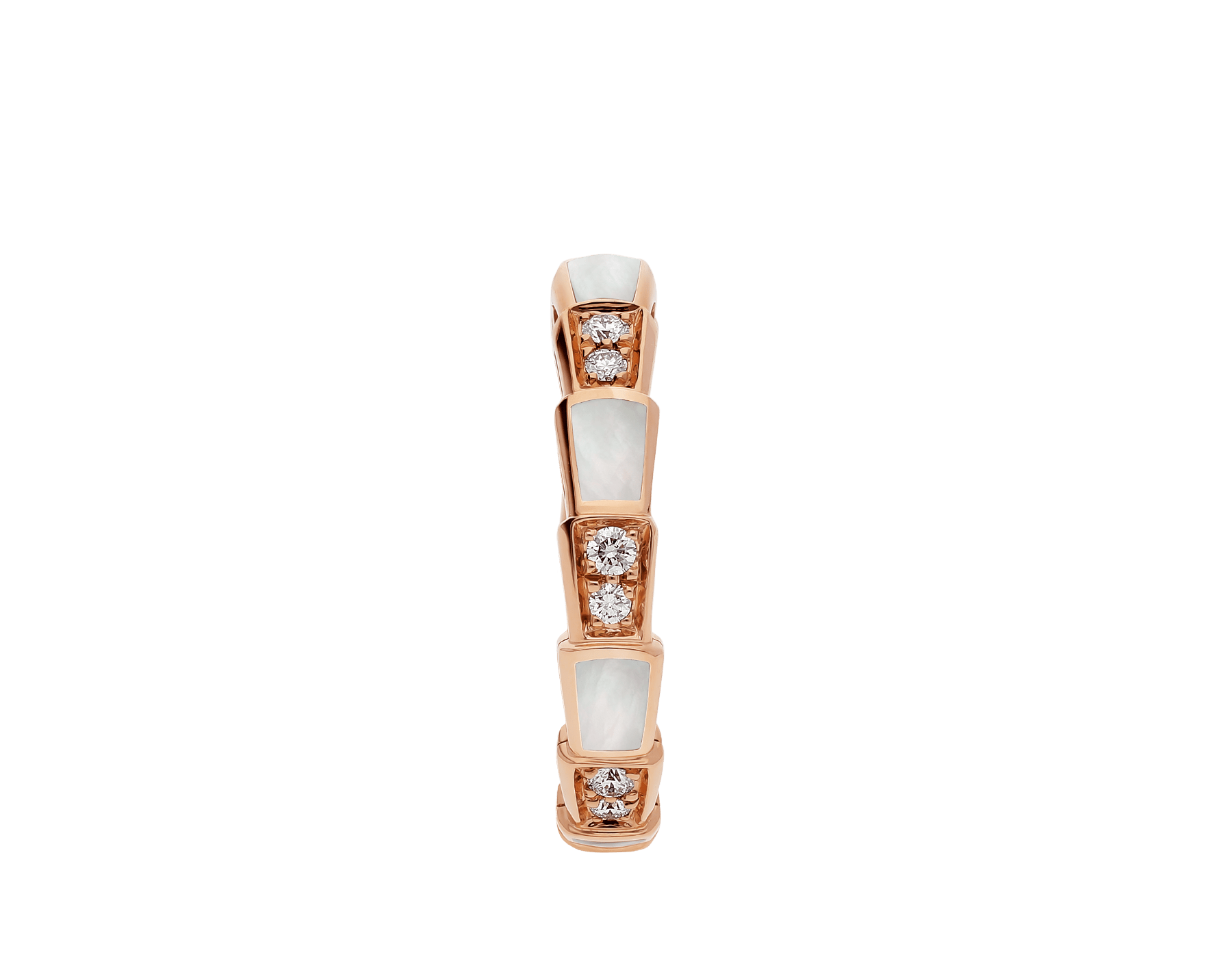 Serpenti Viper band ring in 18 kt rose gold set with mother-of-pearl elements and pavé diamonds (0.25 ct). AN858042 image 2