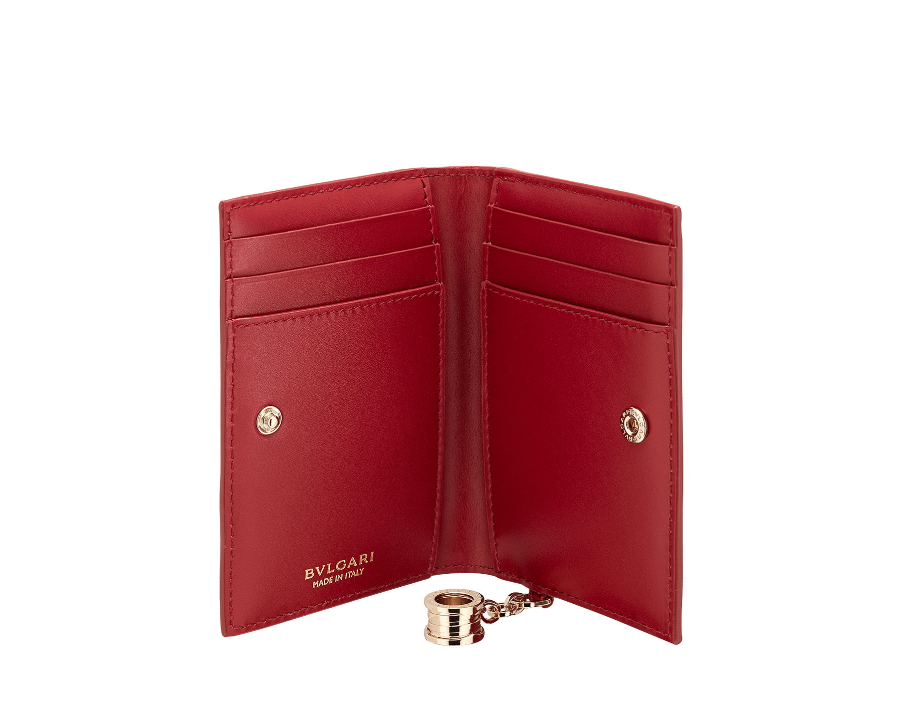 """""""B.zero1"""" folded card holder in white agate and ruby red goatskin and ruby red calf leather. Iconic B.zero1 charm in light gold-plated brass. 290663 image 2"""