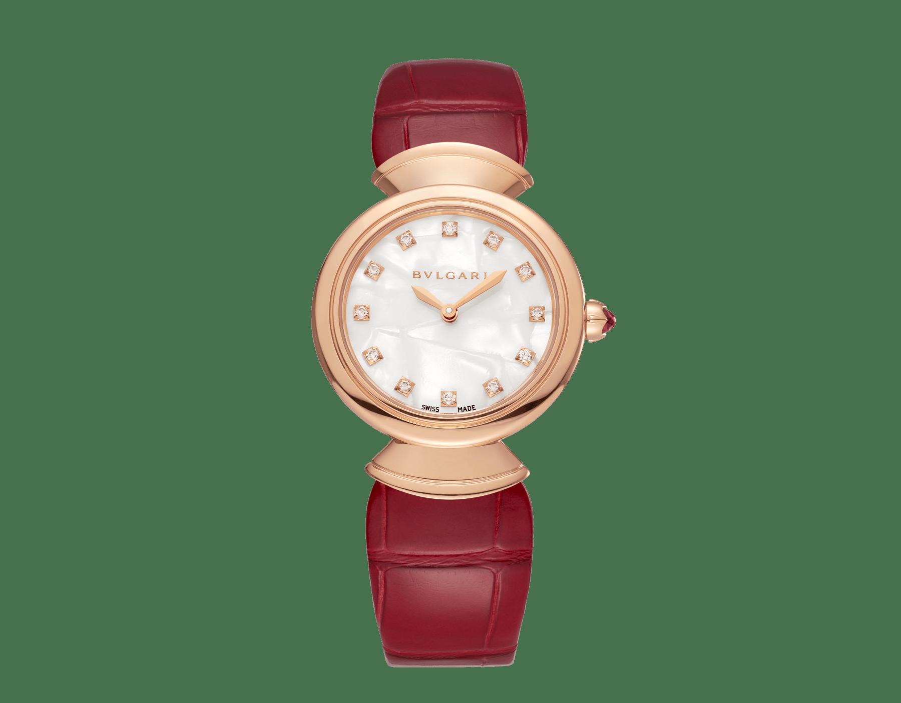 Montre DIVAS' DREAM en or rose 18K, cadran en acétate blanc avec index sertis de diamants et bracelet en alligator rouge. 102840 image 1