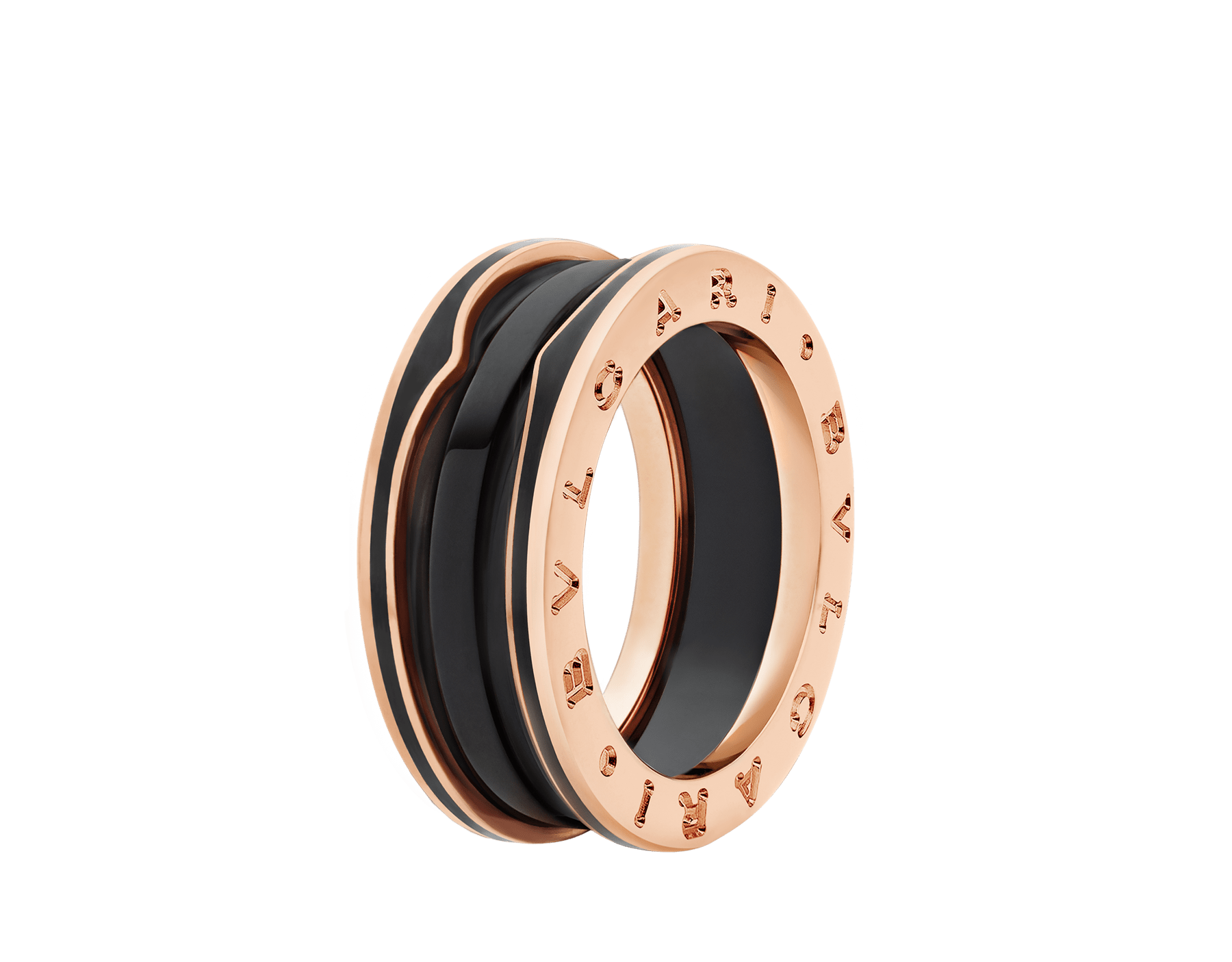 B.zero1 two-band ring in 18 kt rose gold with matte black ceramic AN858853 image 1